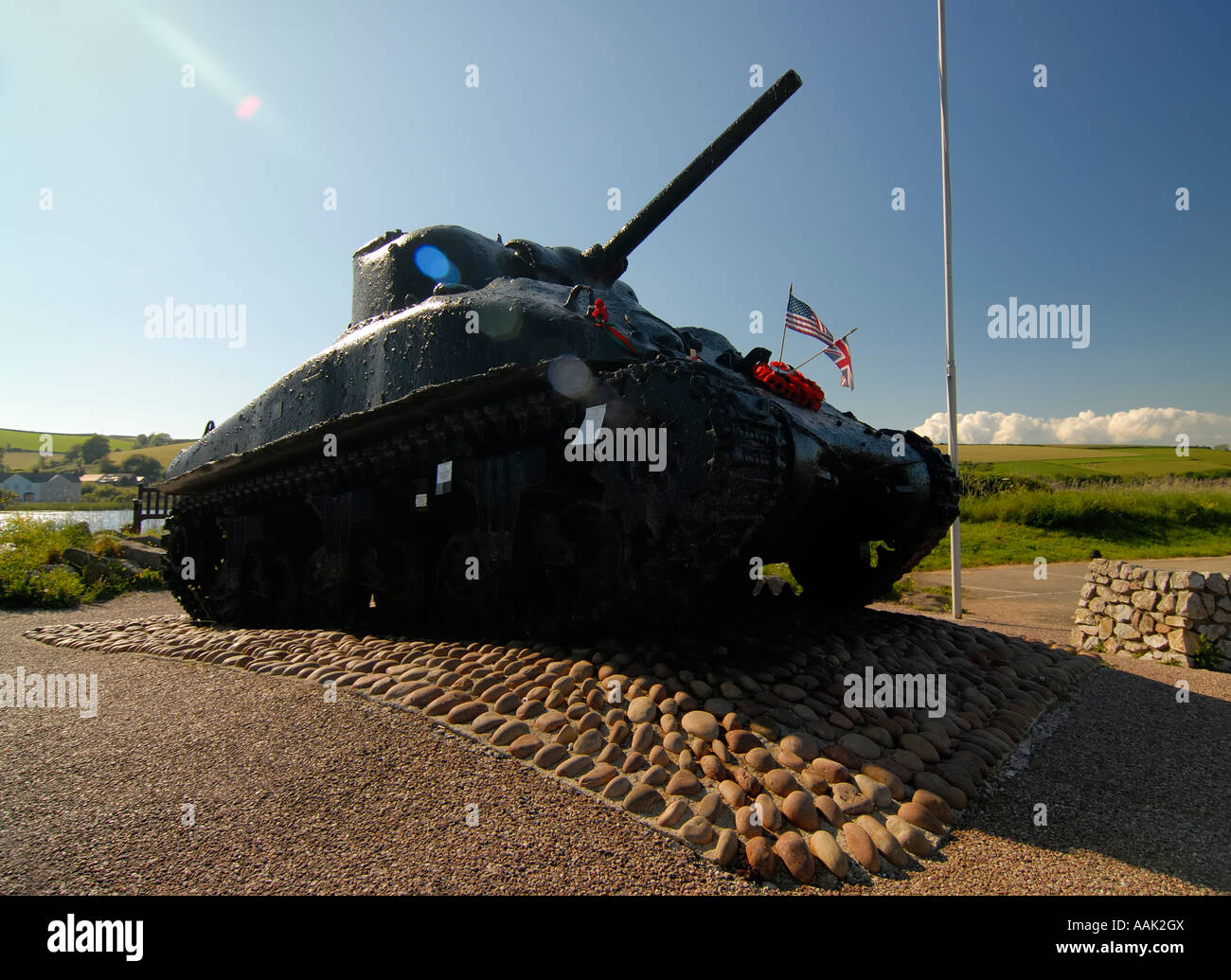 American WW2 Sherman Tank at Slapton Sands Devon Uk - Stock Image