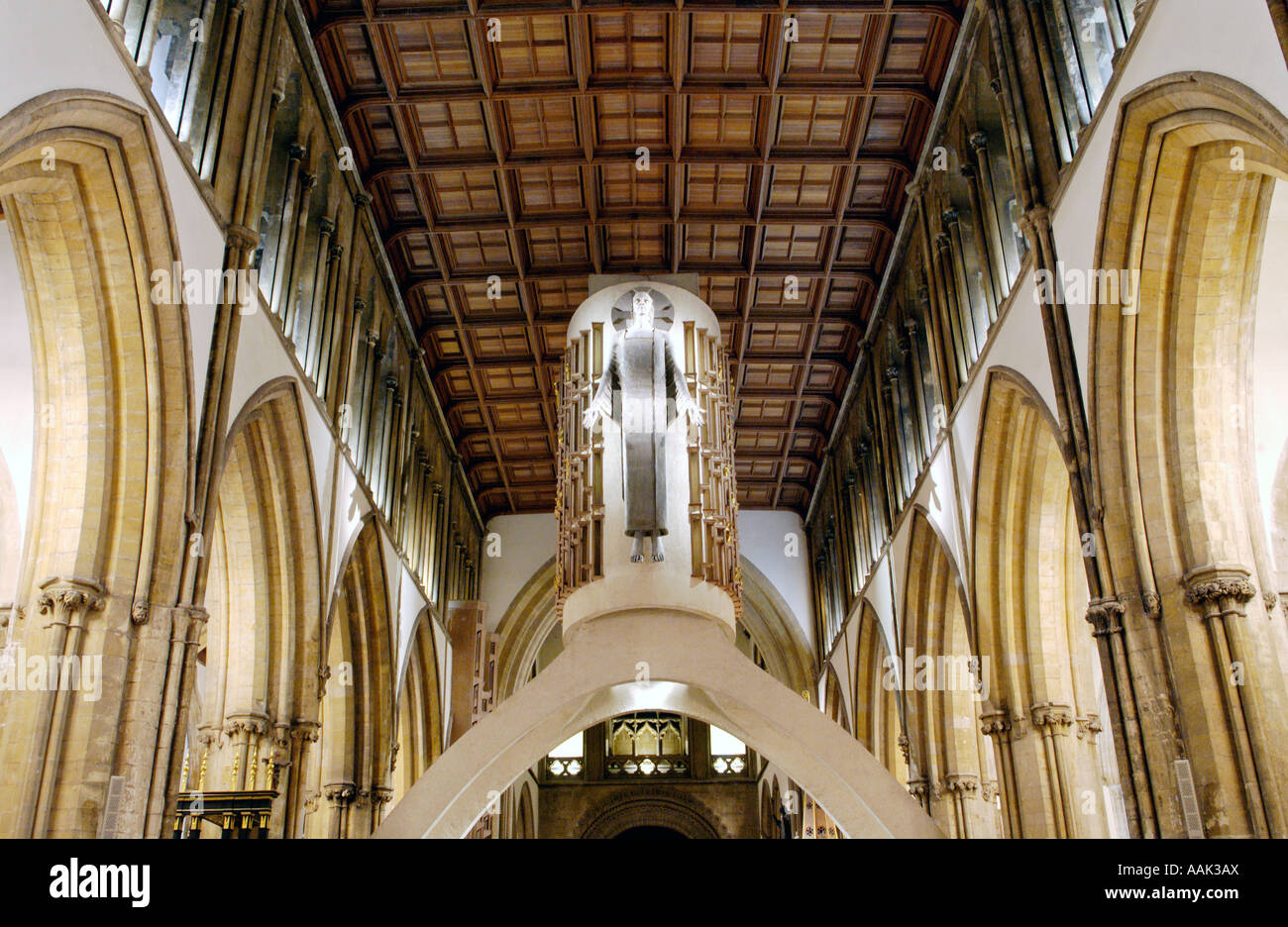 Llandaff Cathedral Cardiff South Wales UK interior architectural lighting with Christ in Majesty by Jacob Epstein - Stock Image