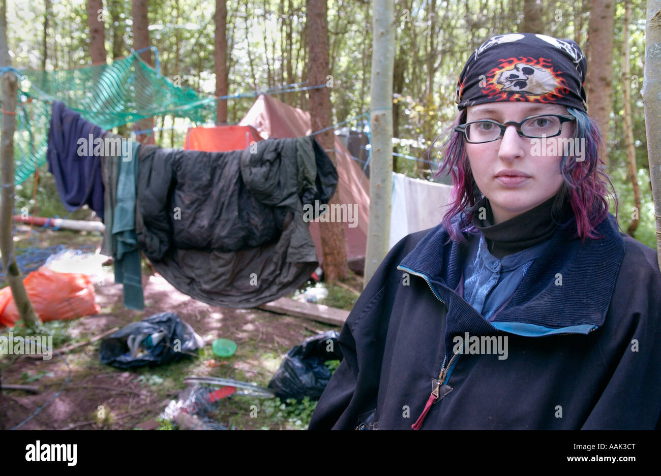 Young woman eco warrior at LNG pipeline protestors camp on Penpont Estate near Brecon Powys Wales UK - Stock Image