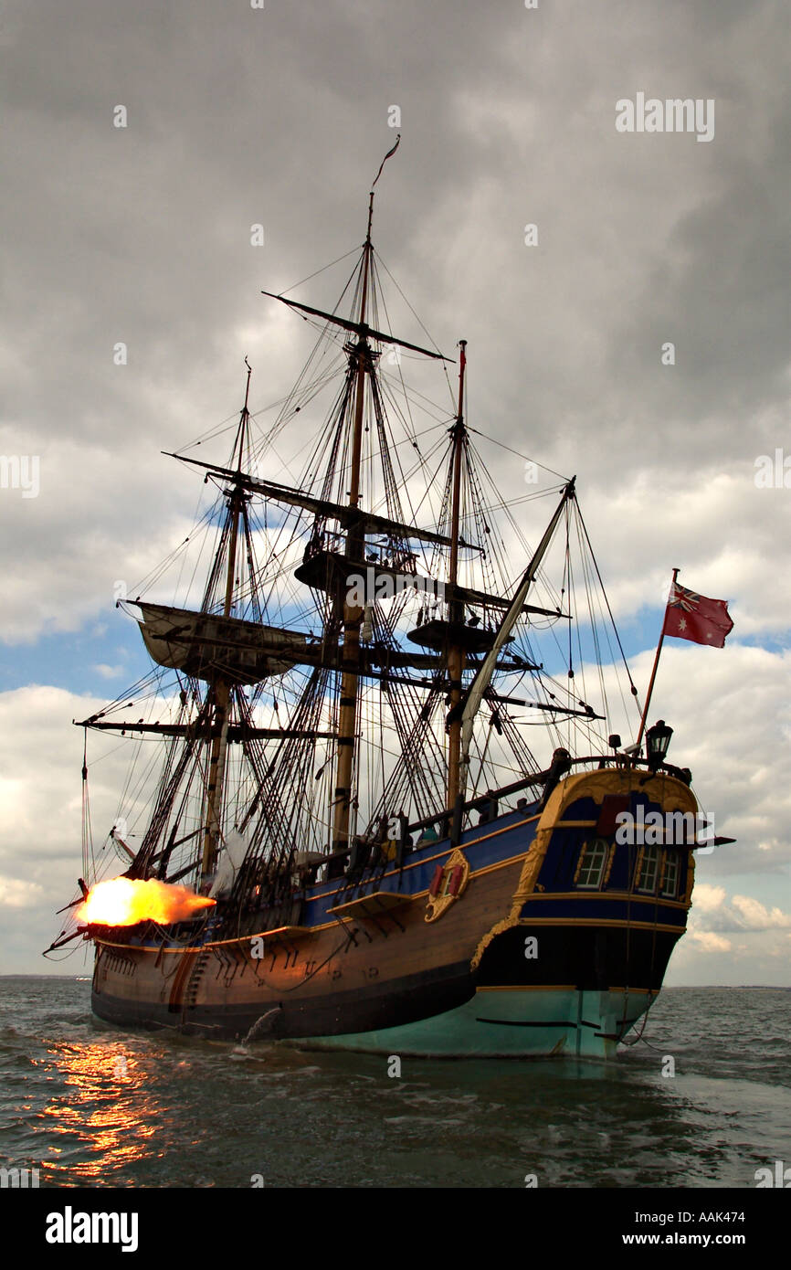 Barque,gaffer,Replica of James Cook's ship, Endeavour, Solent Isle of Wight England  huge sunset - Stock Image