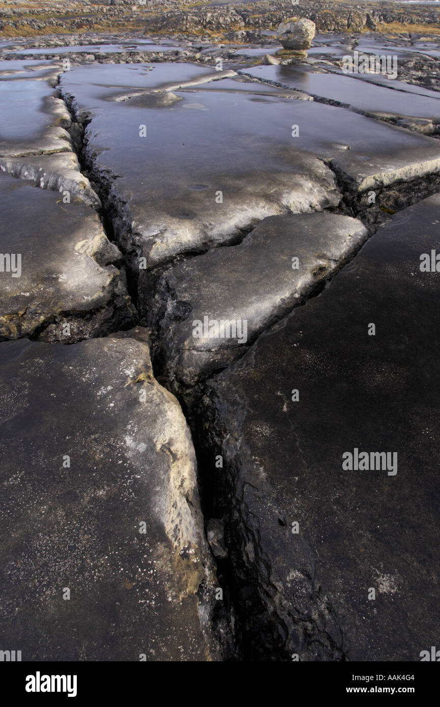 patterns in the limestone in The burren County Clare Ireland - Stock Image