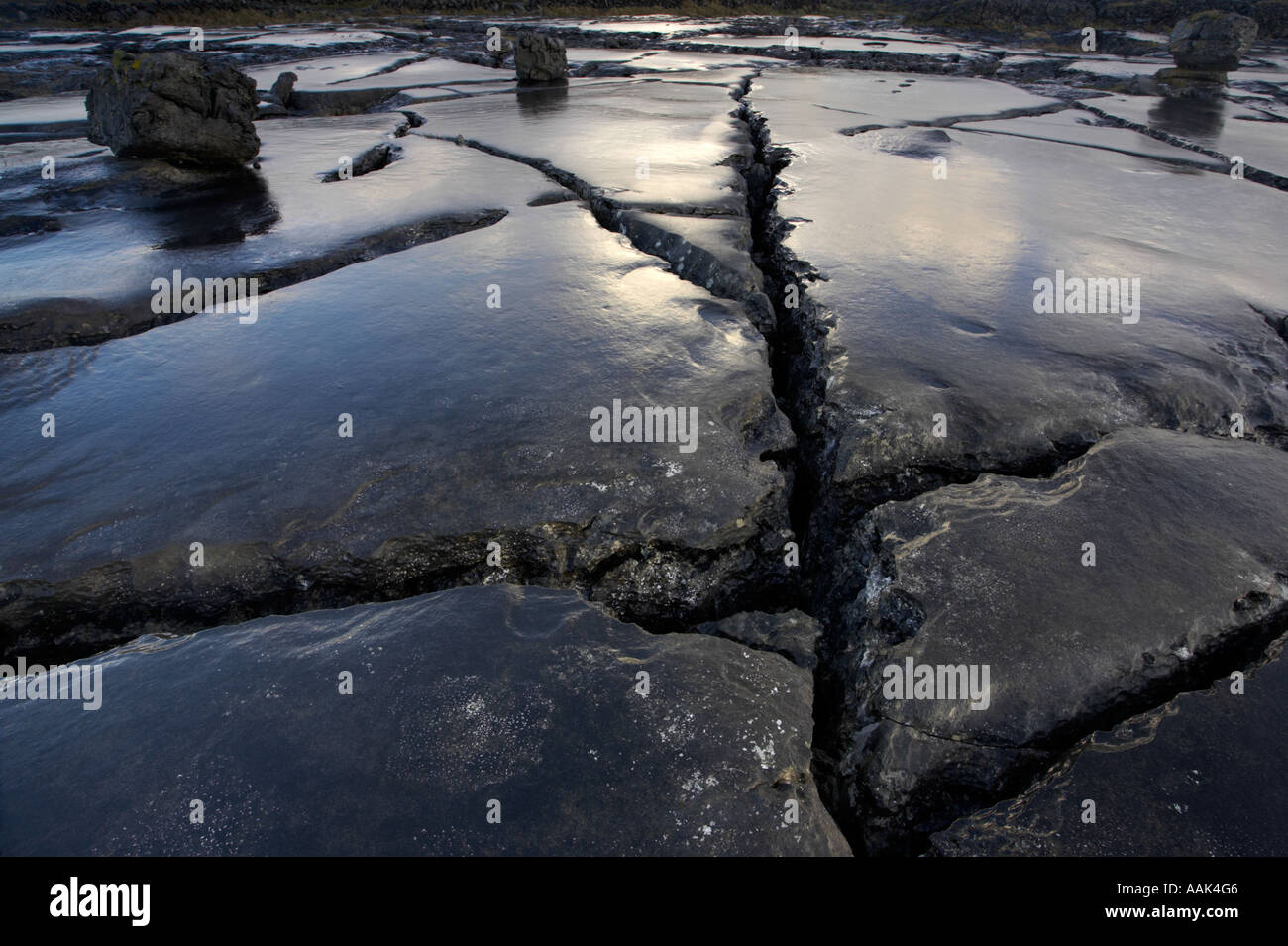 Patterns in The burren landscape County clare Ireland - Stock Image