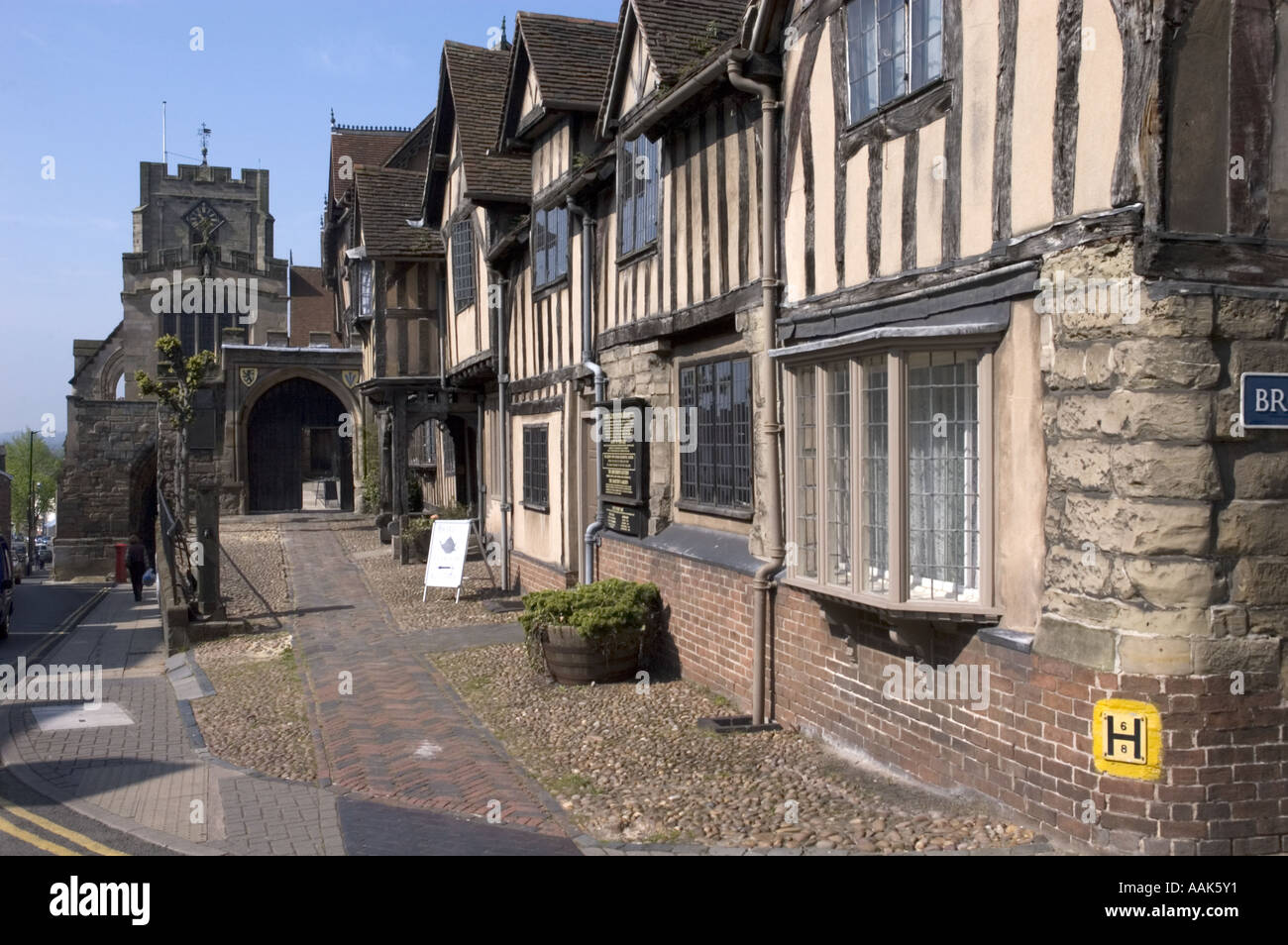 Picutre of the old Leycester hospital 14th 15th century buildings in Warwick England - Stock Image