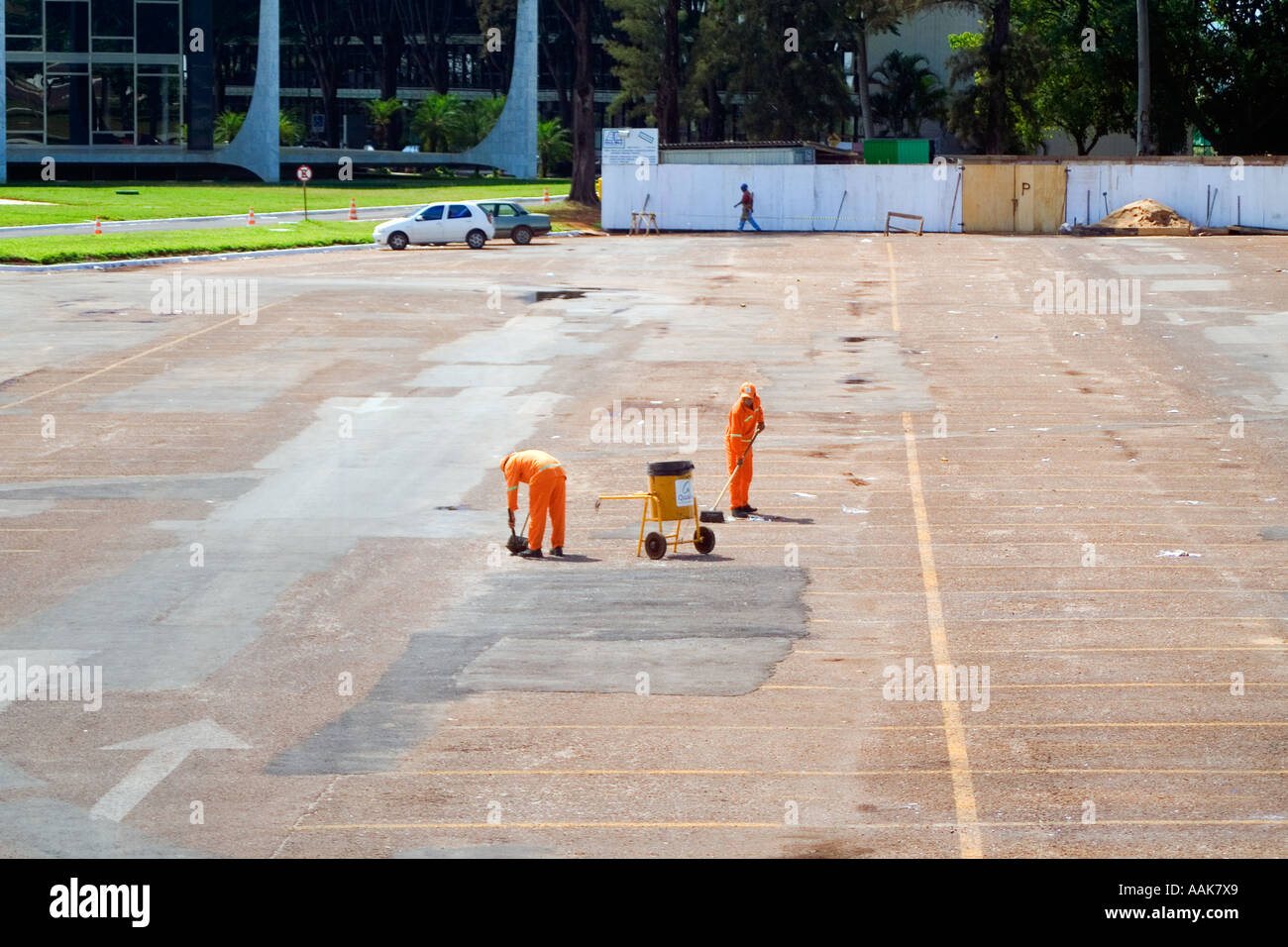 Workers Cleaning Streets Brasilia Brazil Stock Photo