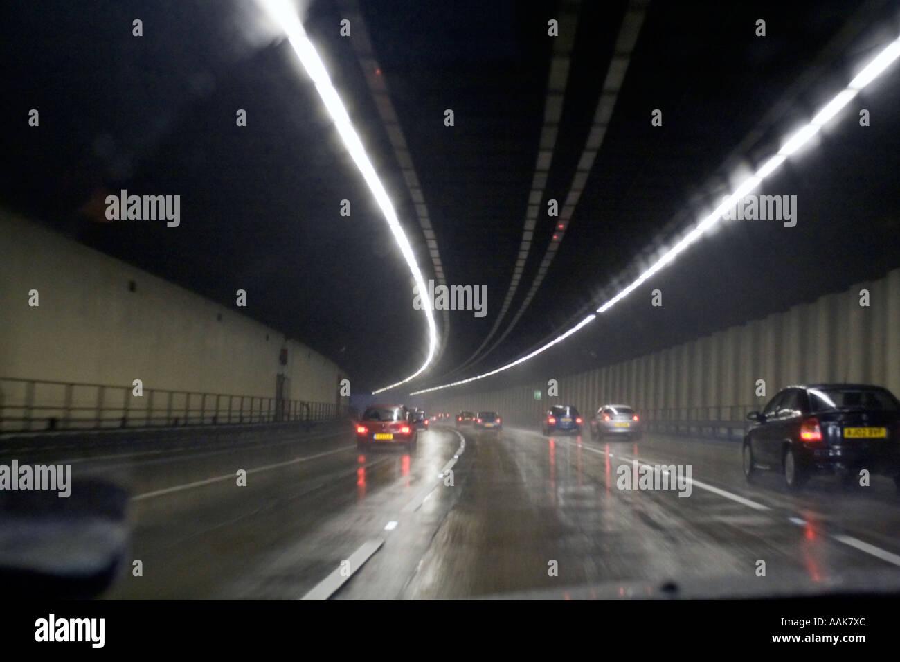 M-25 Orbital at night Tunnel London England United Kingdom - Stock Image