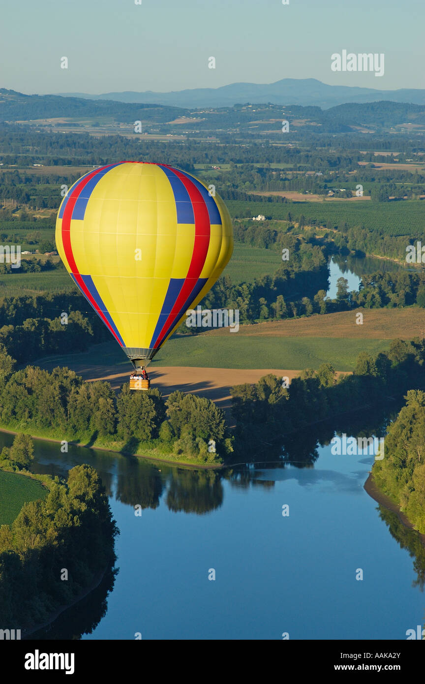 hot air balloon ride over willamette valley oregon stock photo