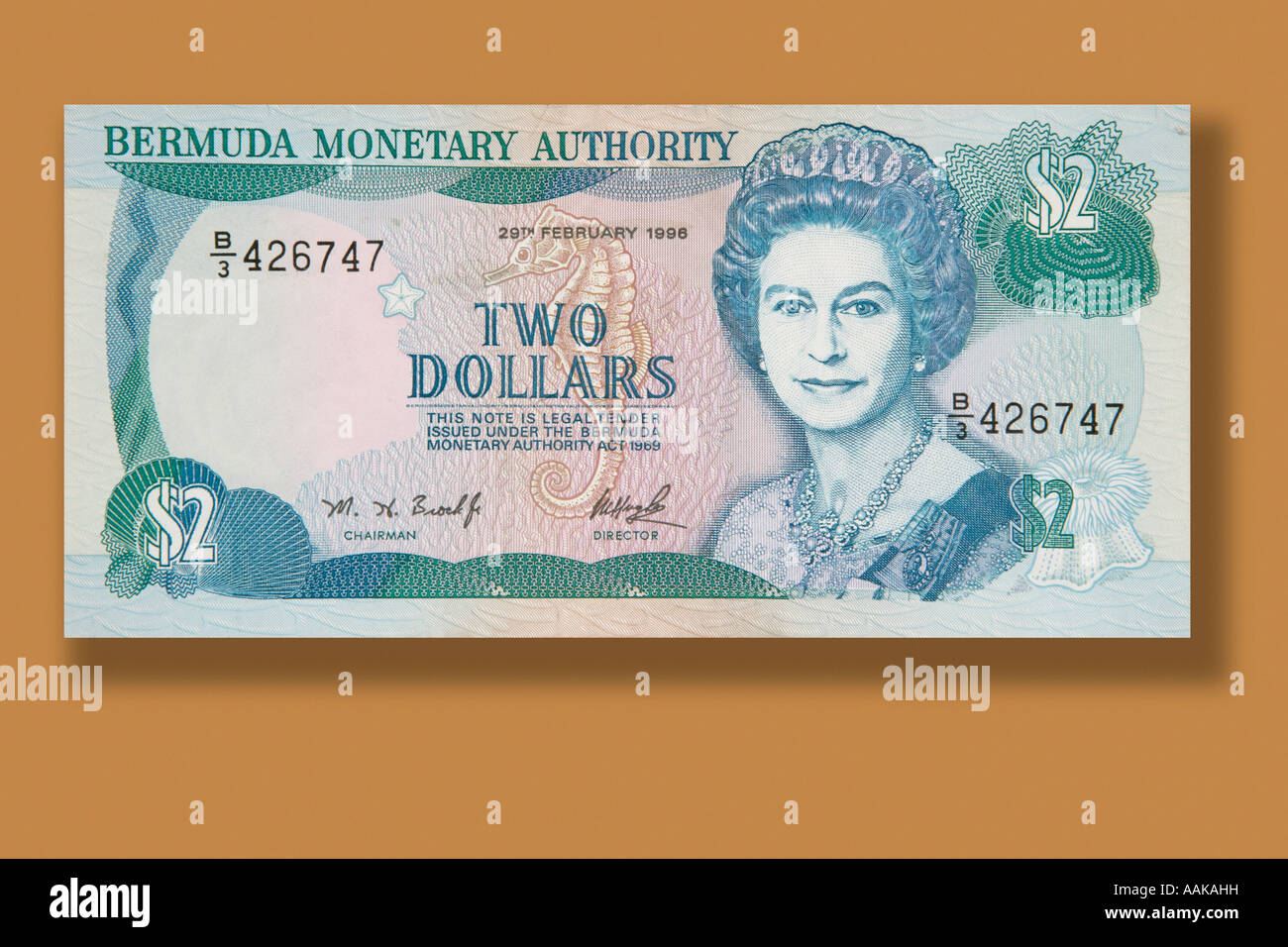2 dollar bill paper money from the Island nation of Bermuda