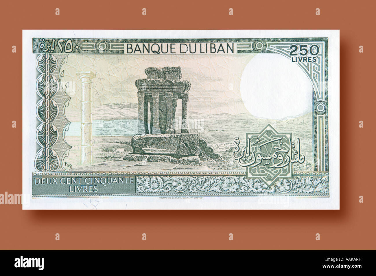 250 Livres paper money from Lebanon - Stock Image