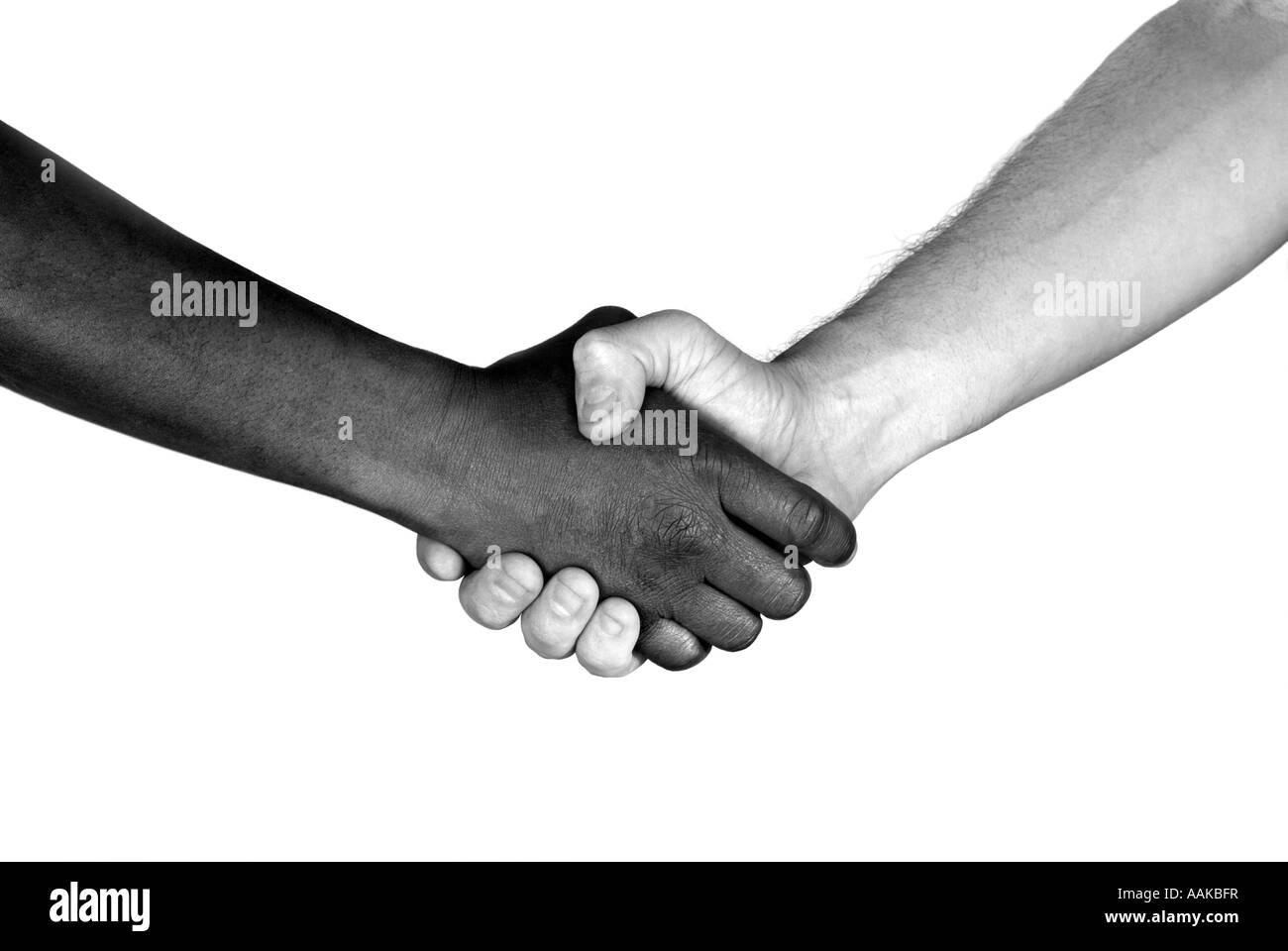 Handshake black and white - Stock Image