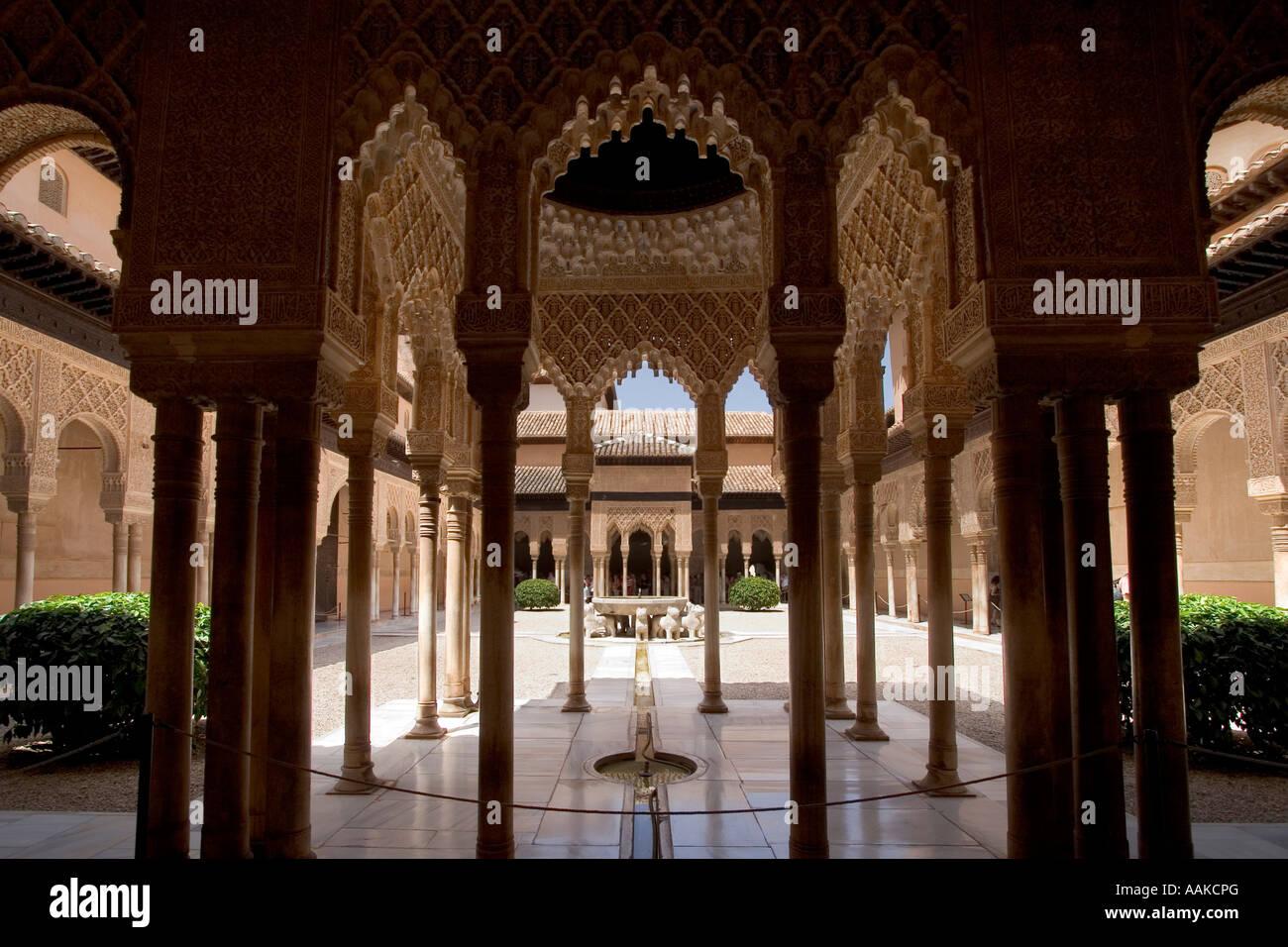 Patio De Los Leones La Alhambra Granada Spain Stock Photo 12651783