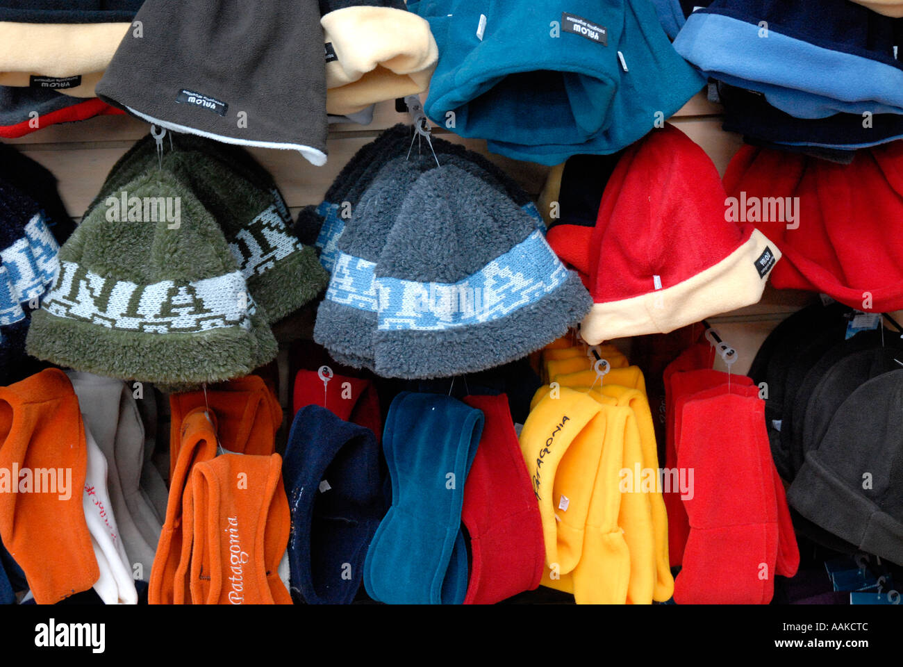 ee550a1051 Hats and scarves in a shop El Calafate Argentina Stock Photo ...