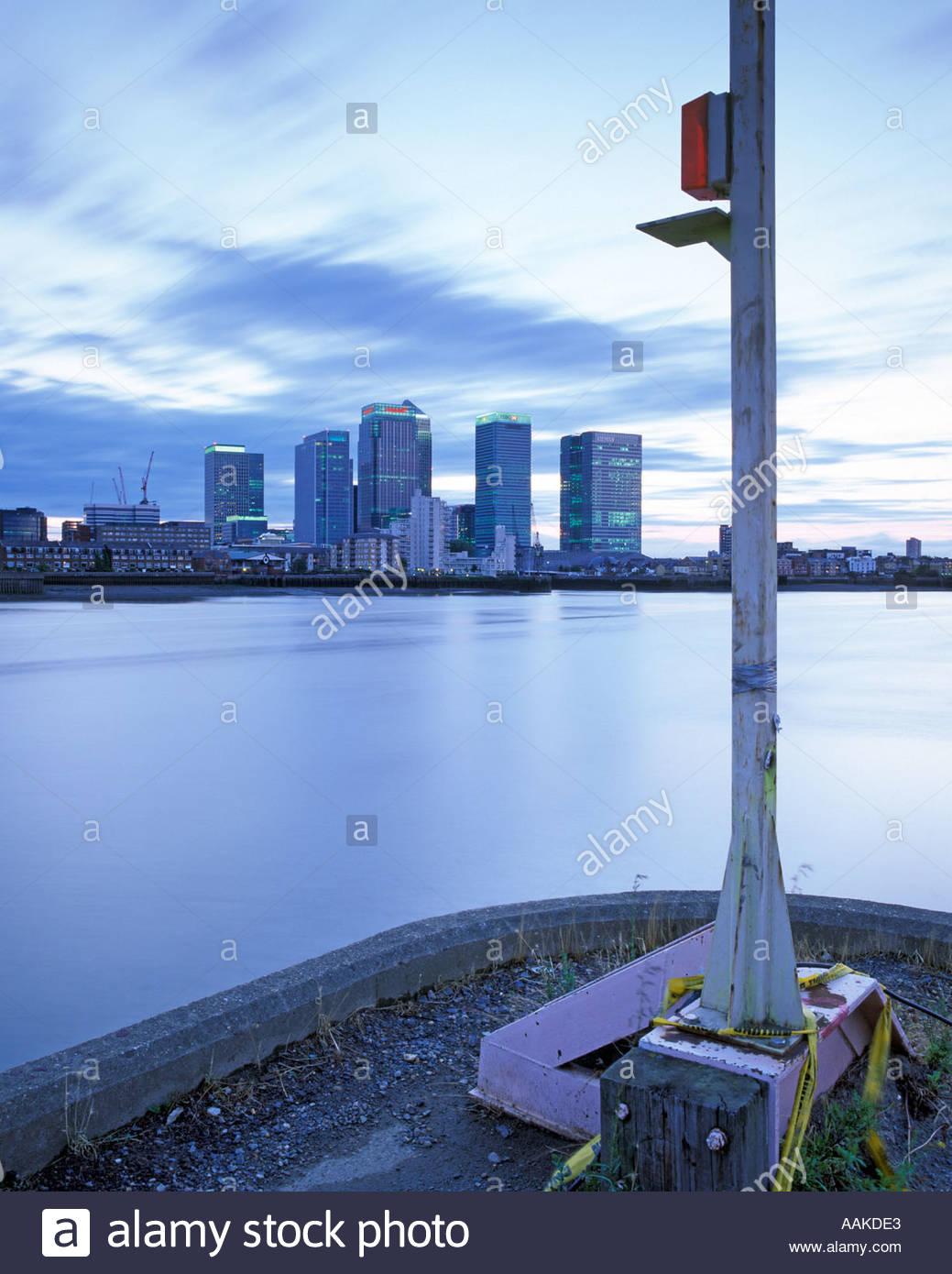 Navigation light River Thames canary wharf London United Kingdom Stock Photo