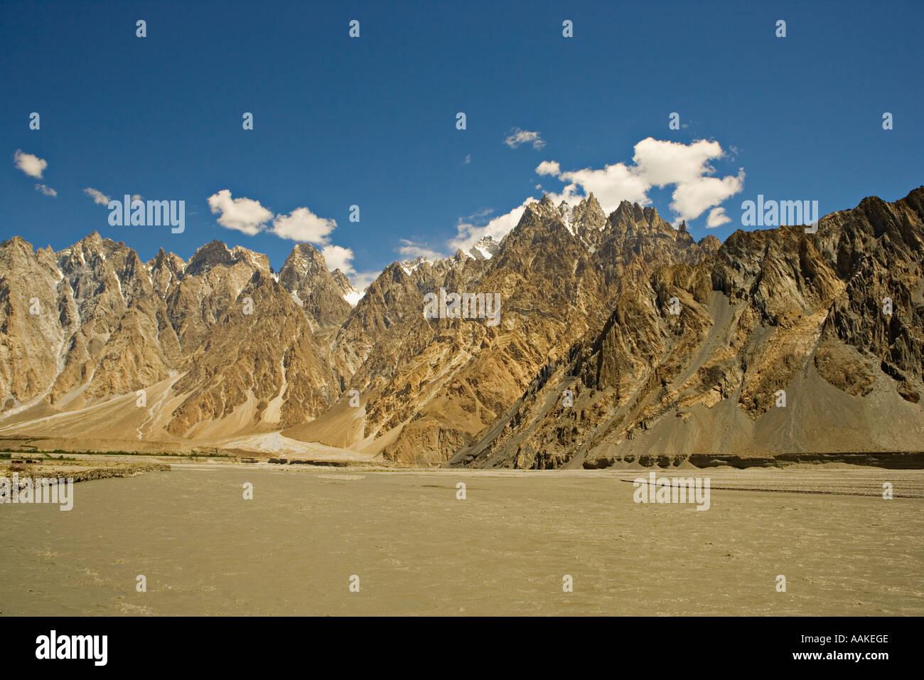 Passu cones, Karakoram mountains, Northern areas, Pakistan - Stock Image
