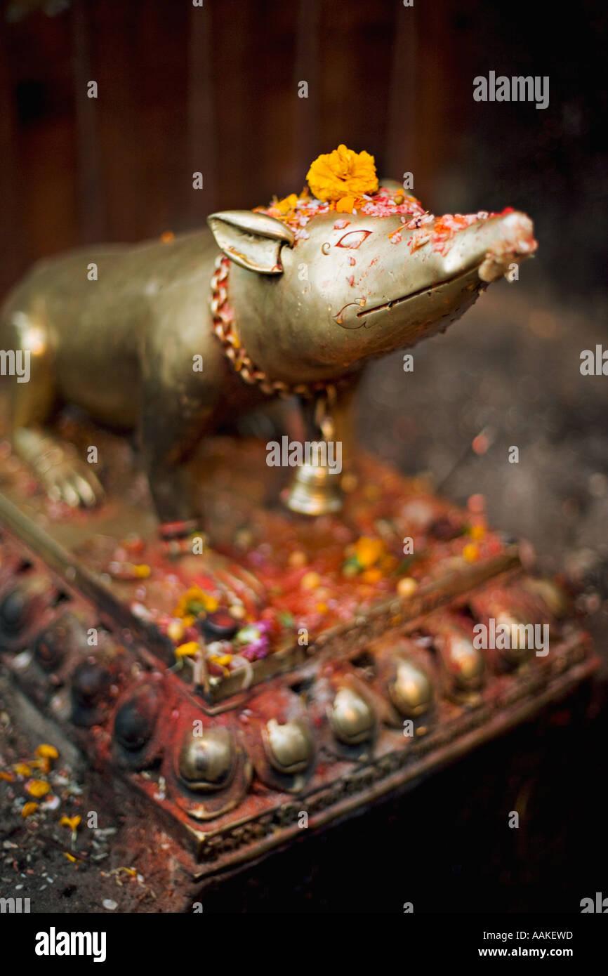 Bronze shrew in Kathmandu Durbar Square, Nepal - Stock Image