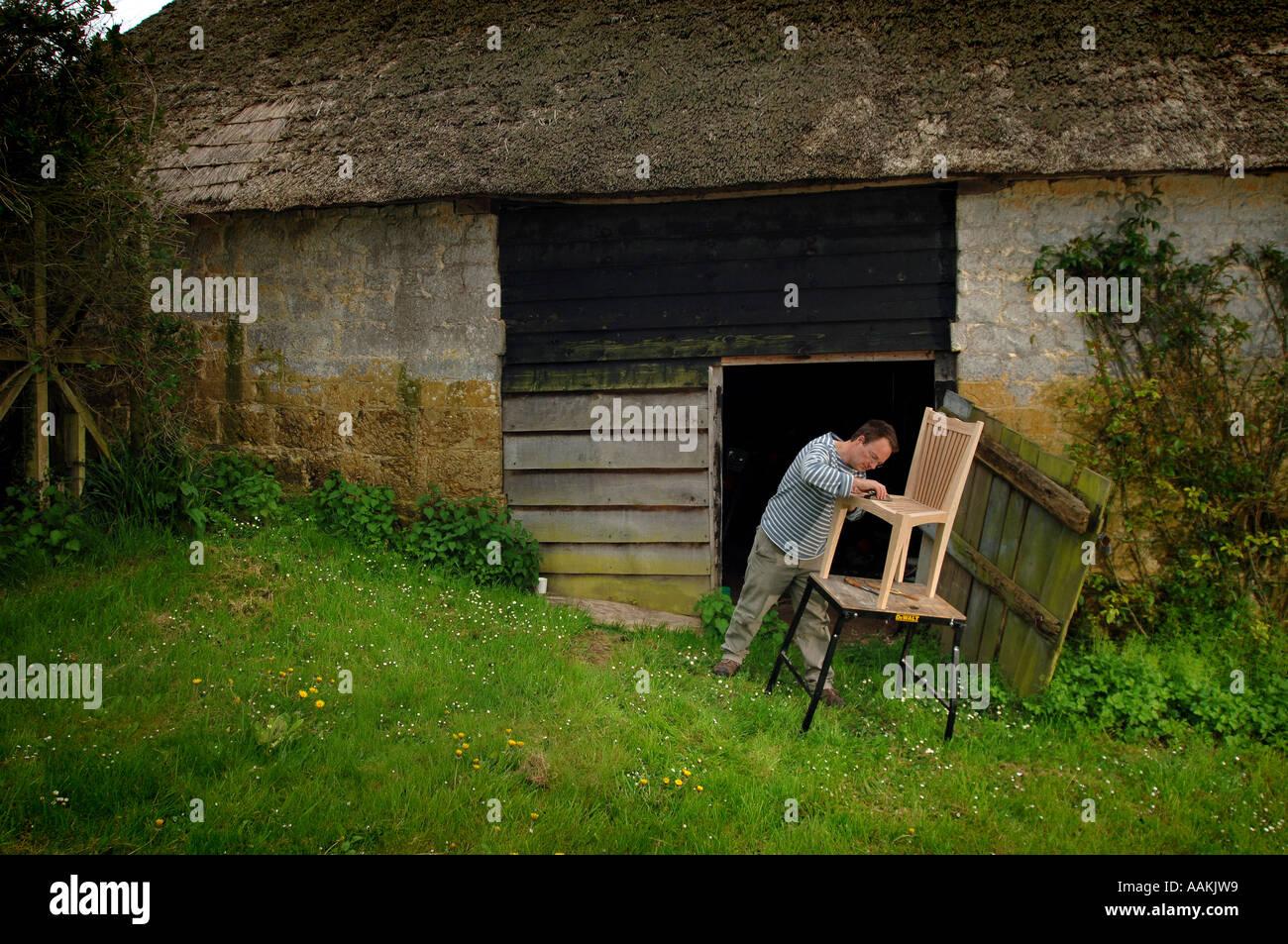 James Verner Bespoke Furniture Maker At Home In North Chideock Dorset    Stock Image