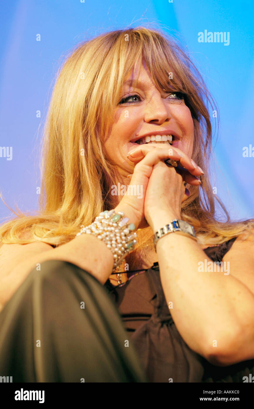 Goldie Hawn American actress talking about her life and career in films at Hay Festival 2005 Hay on Wye Powys Wales UK - Stock Image