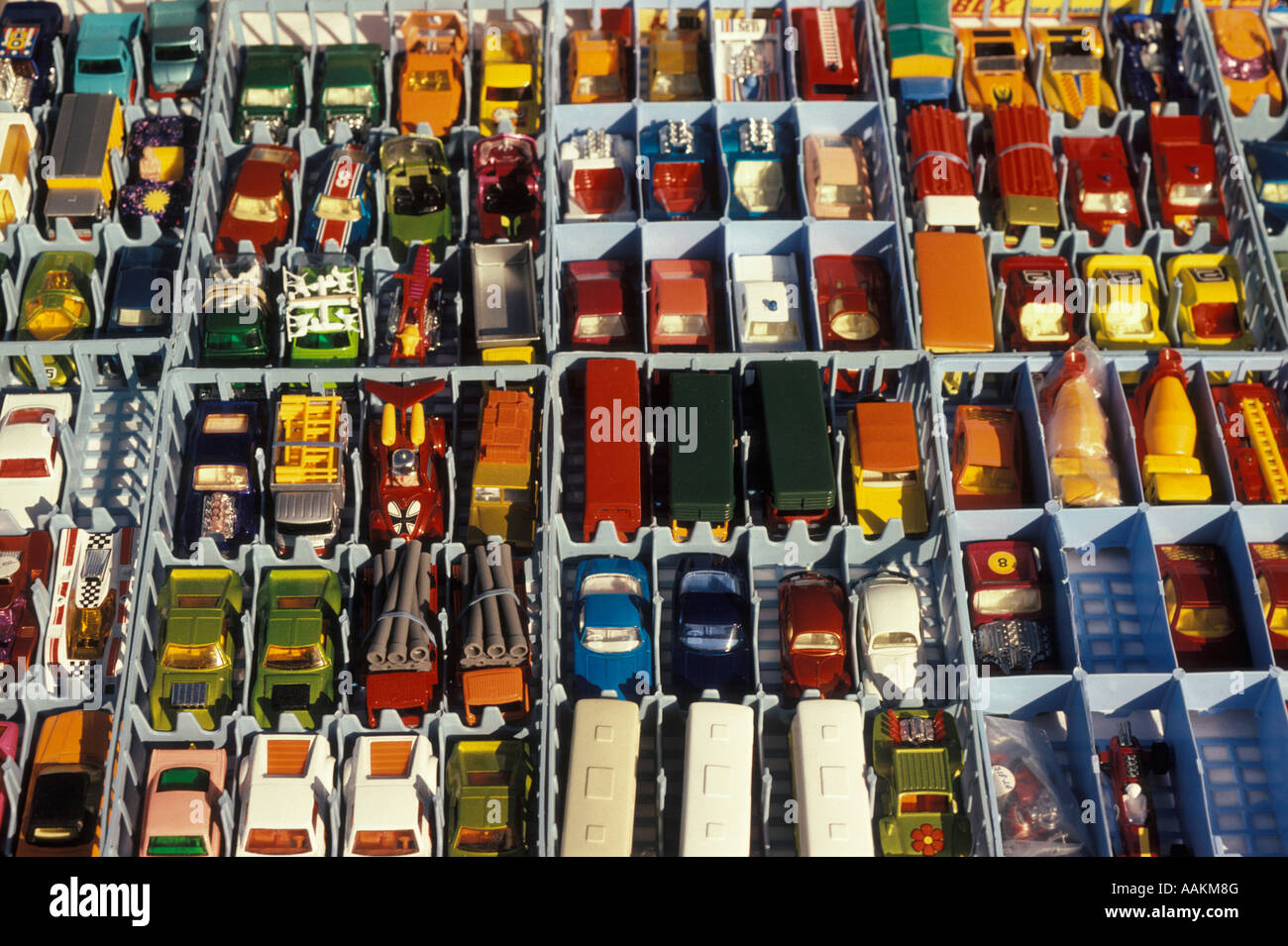 1980s COLLECTION MATCHBOX MATCH BOX CARS COLLECTIBLE TOYS ON FLEA MARKET TABLE Stock Photo