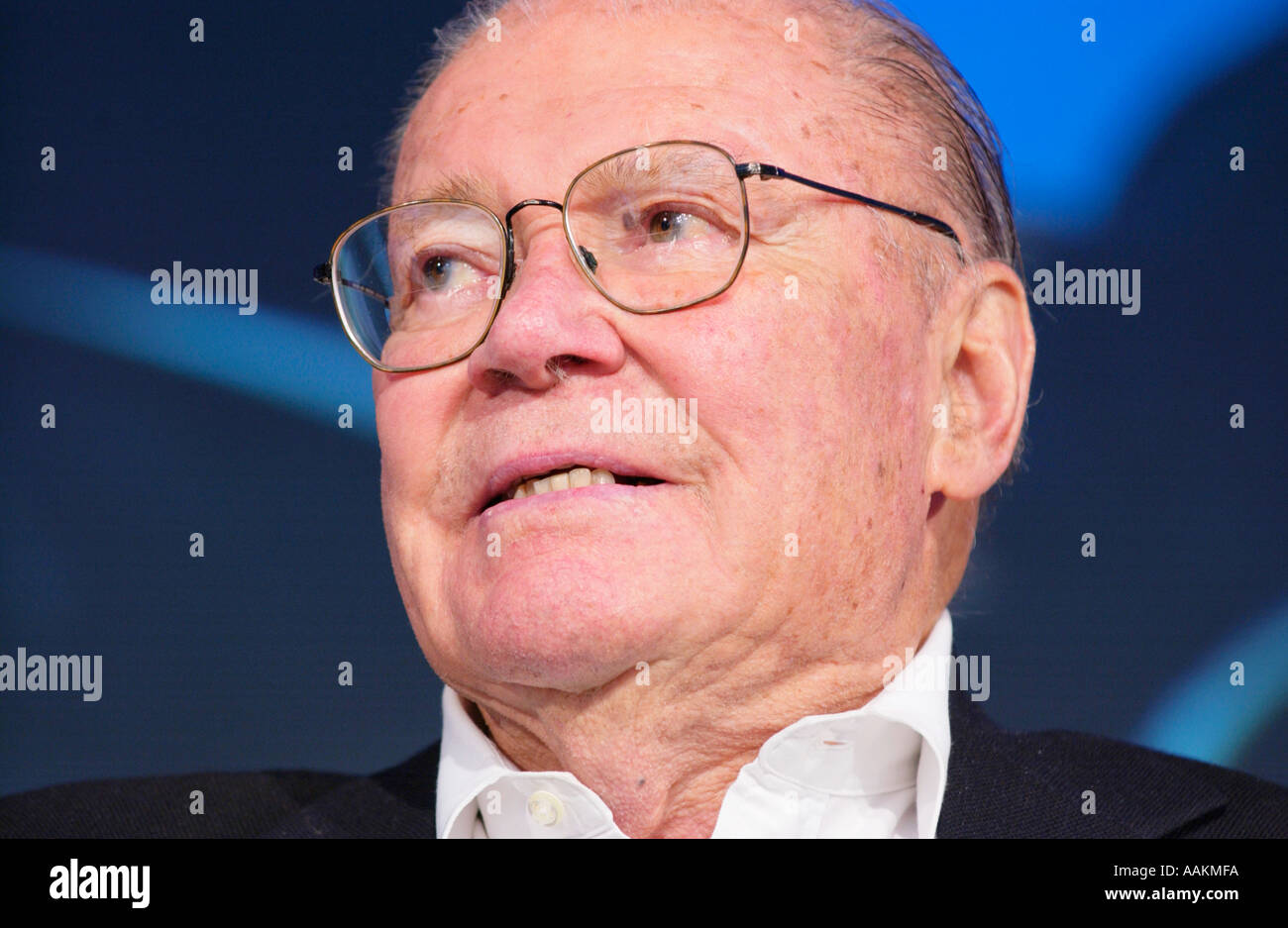 Robert McNamara former US Defence Secretary pictured at Hay Festival 2005 Hay on Wye Powys Wales UK - Stock Image