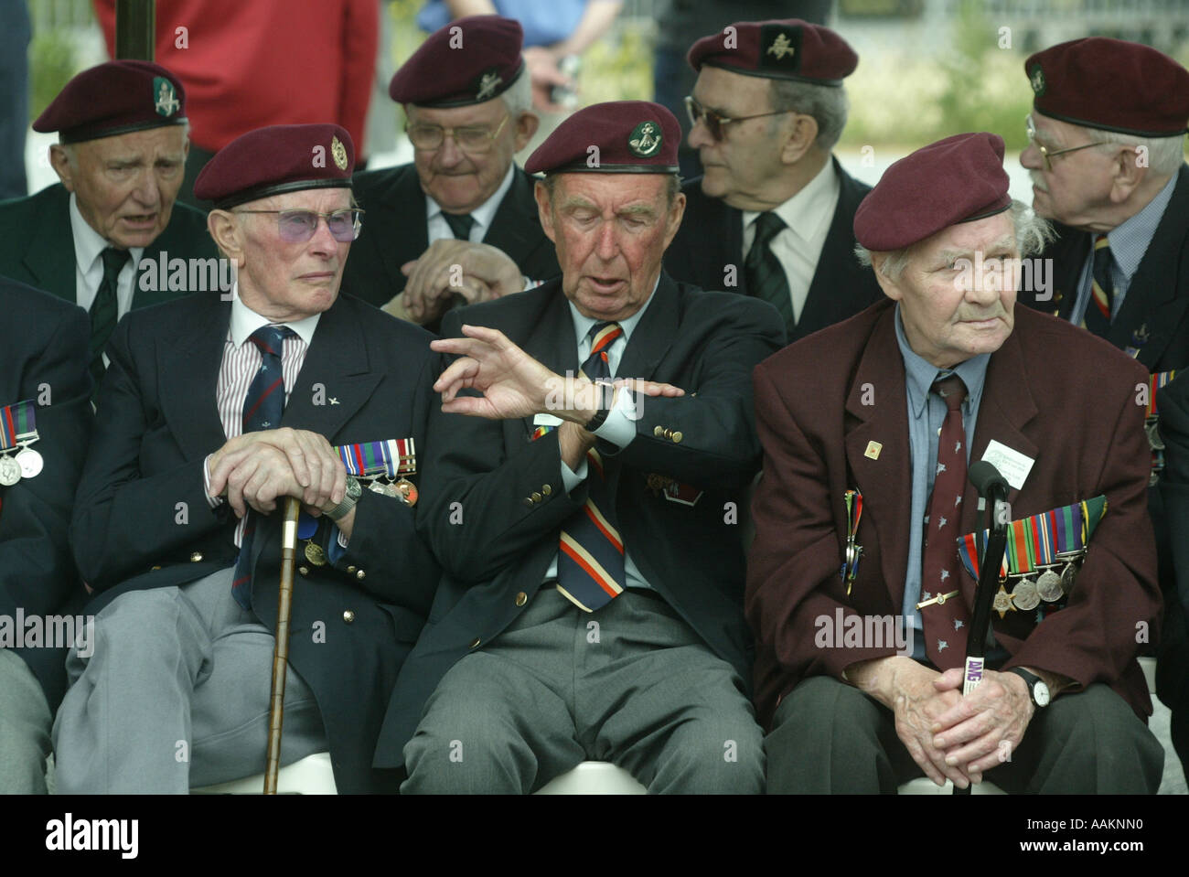 A Second World War Veteran checks his watch to see the time as they wait at events to mark the 60th Anniversary of D-Day, France - Stock Image