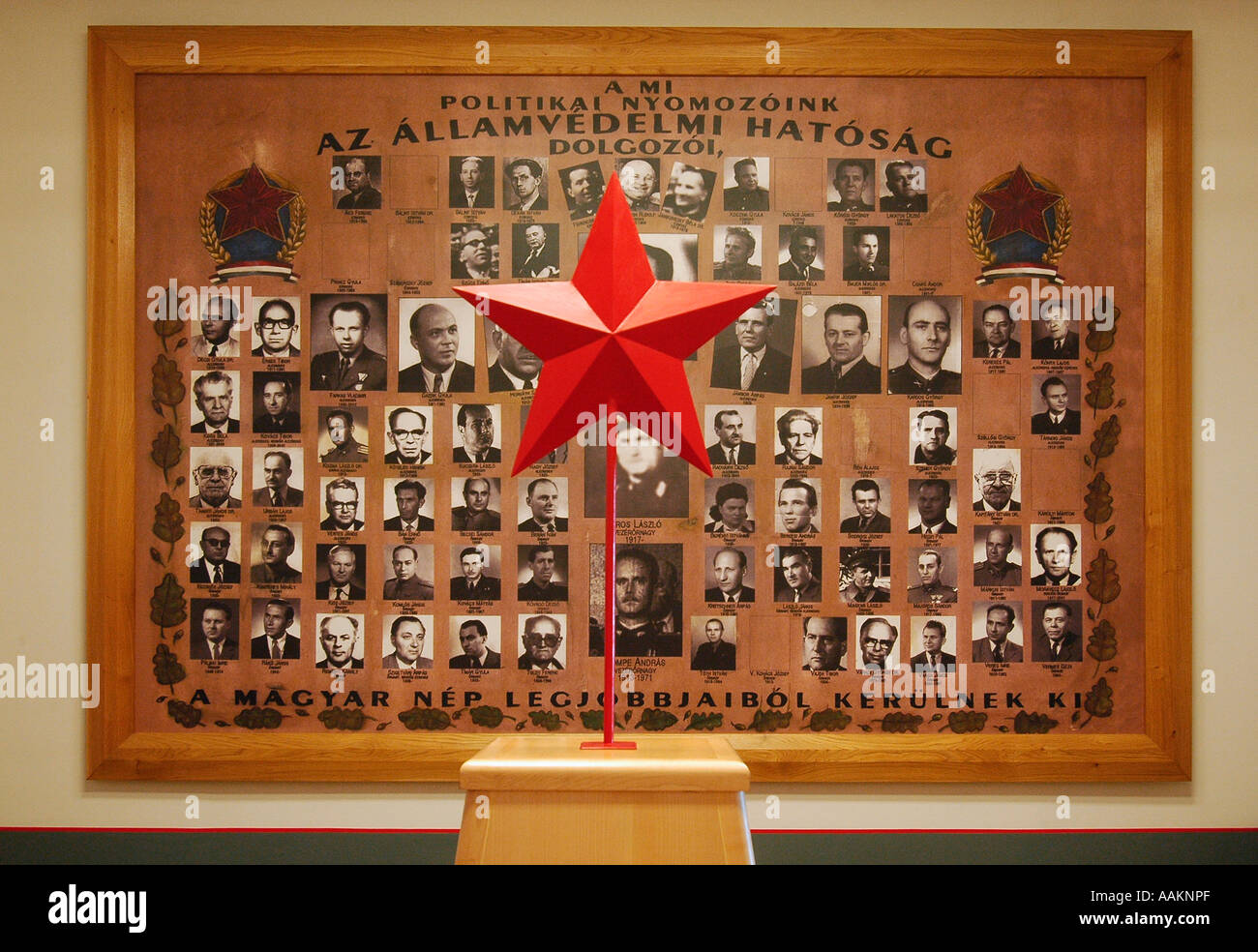 Photos of Hungarian Communists displayed inside House of Terror Haza Museum in Budapest Hungary - Stock Image
