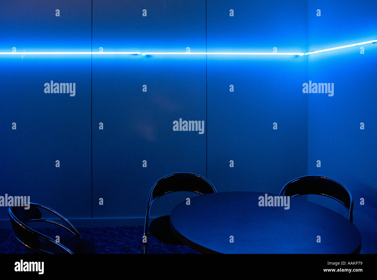 Empty Blue Room - Stock Image