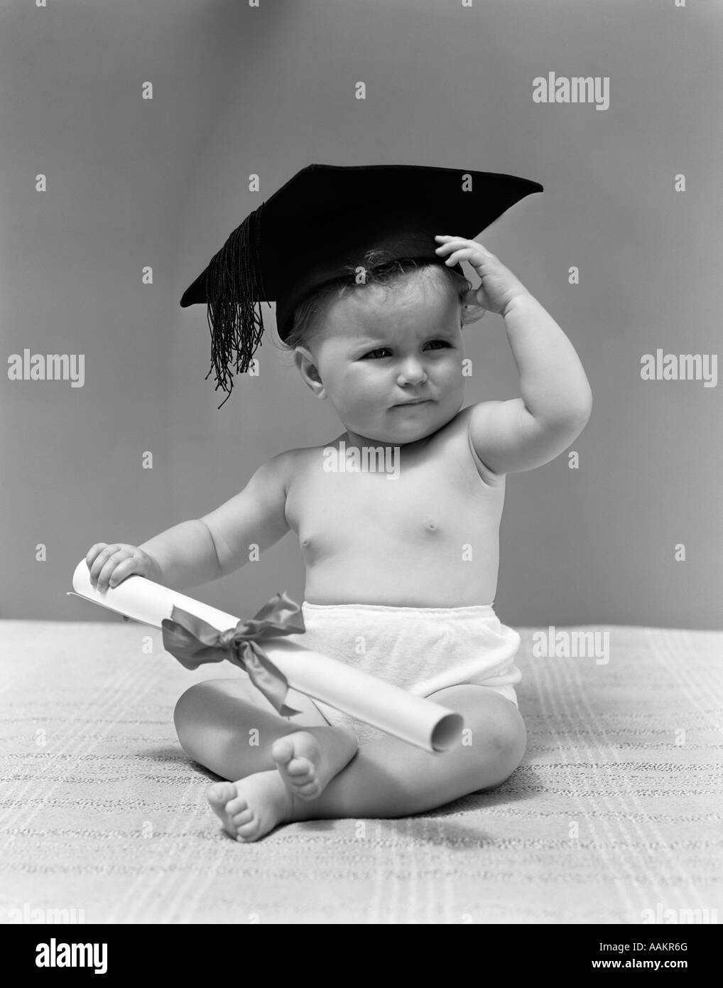 d31b77fdb Babies Wearing Hats Black and White Stock Photos & Images - Alamy