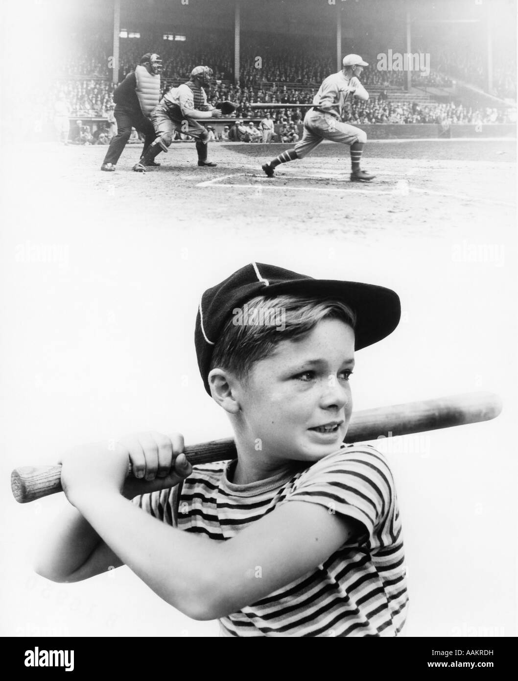 1930s MONTAGE OF BOY AT BAT WITH PROFESSIONAL BASEBALL GAME IN PROGRES - Stock Image