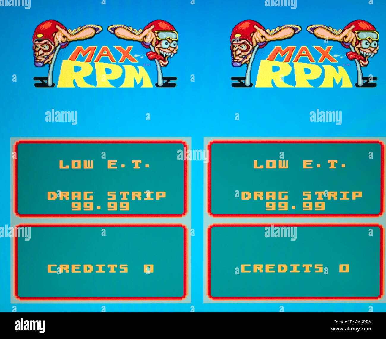 Max RPM Bally Midway 1986 vintage arcade videogame screenshot - EDITORIAL USE ONLY - Stock Image