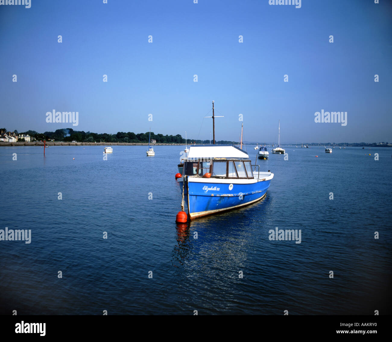 boat moored on exe estuary exmouth south devon - Stock Image