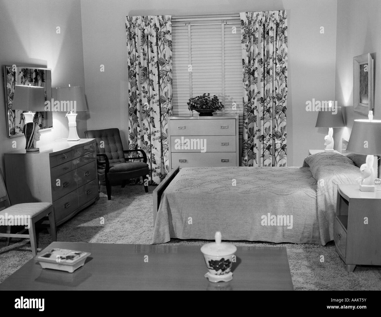 1950s BEDROOM INTERIOR WITH FLOOR LENGTH FLORAL CURTAINS VENETIAN BLINDS  CHENILLE BEDSPREAD U0026 4 TABLE LAMPS