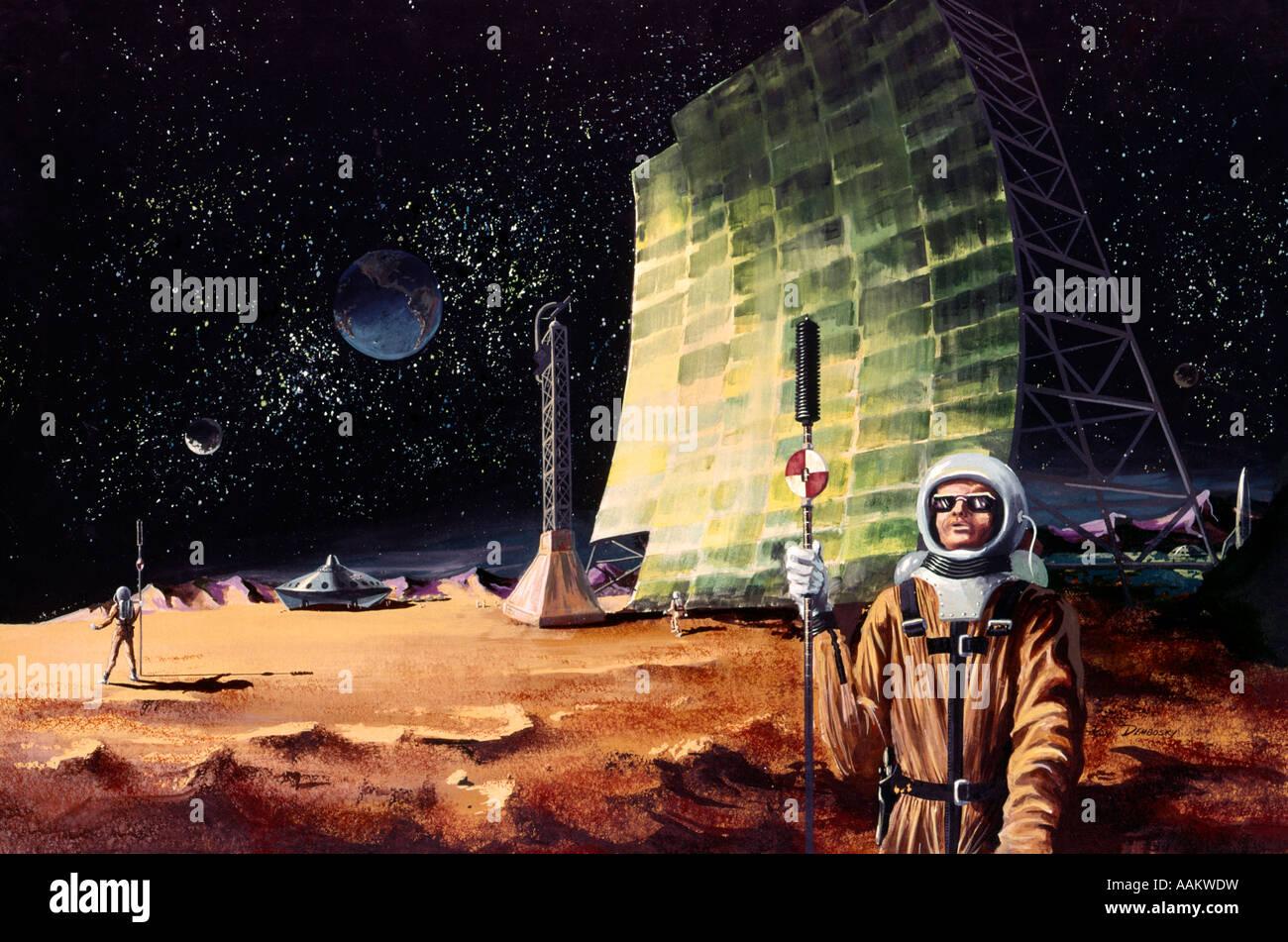 1960s ILLUSTRATION ASTRONAUTS ON EARTHS MOON SPACEMAN SURVEYORS EXPLORERS SCI-FI SCIENCE FICTION FANTASY - Stock Image