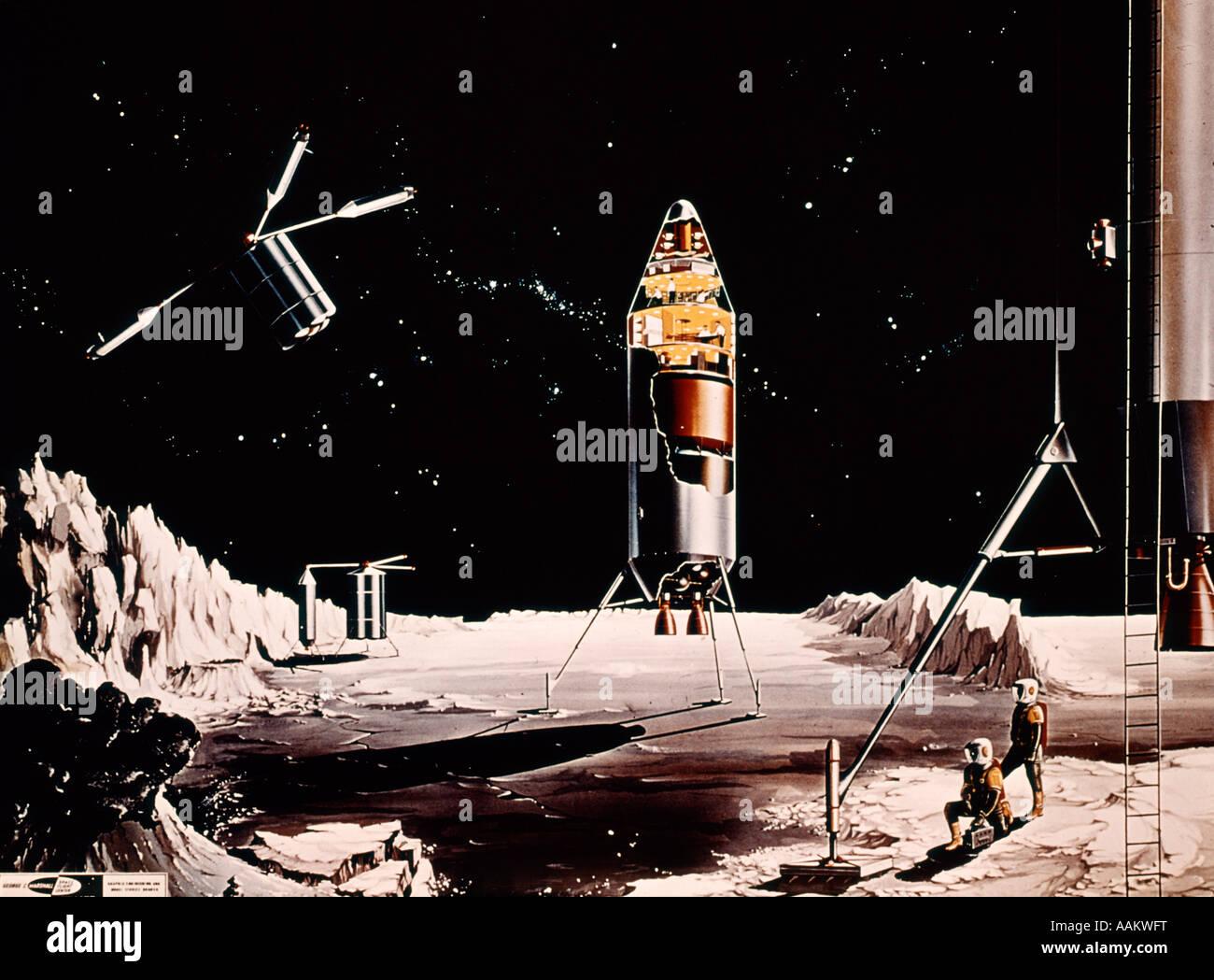 1960s FANTASY ILLUSTRATION LUNAR LANDING EXPLORATION MOON ASTRONAUTS SATELLITE ROCKET SCI-FI SCIENCE FICTION Stock Photo