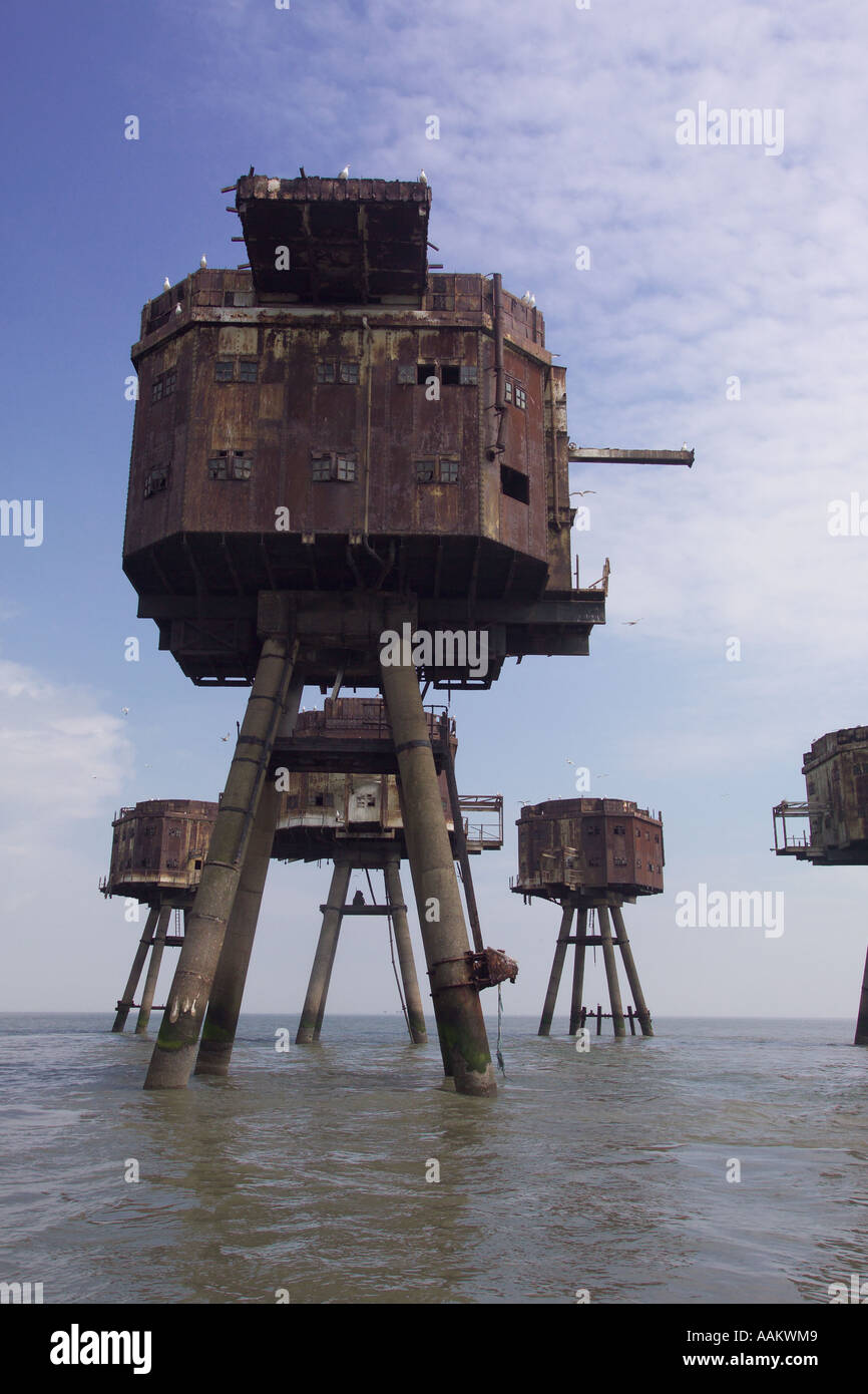 Redsands Maunsell Forts off the coast of whitstable and Herne bay - Stock Image