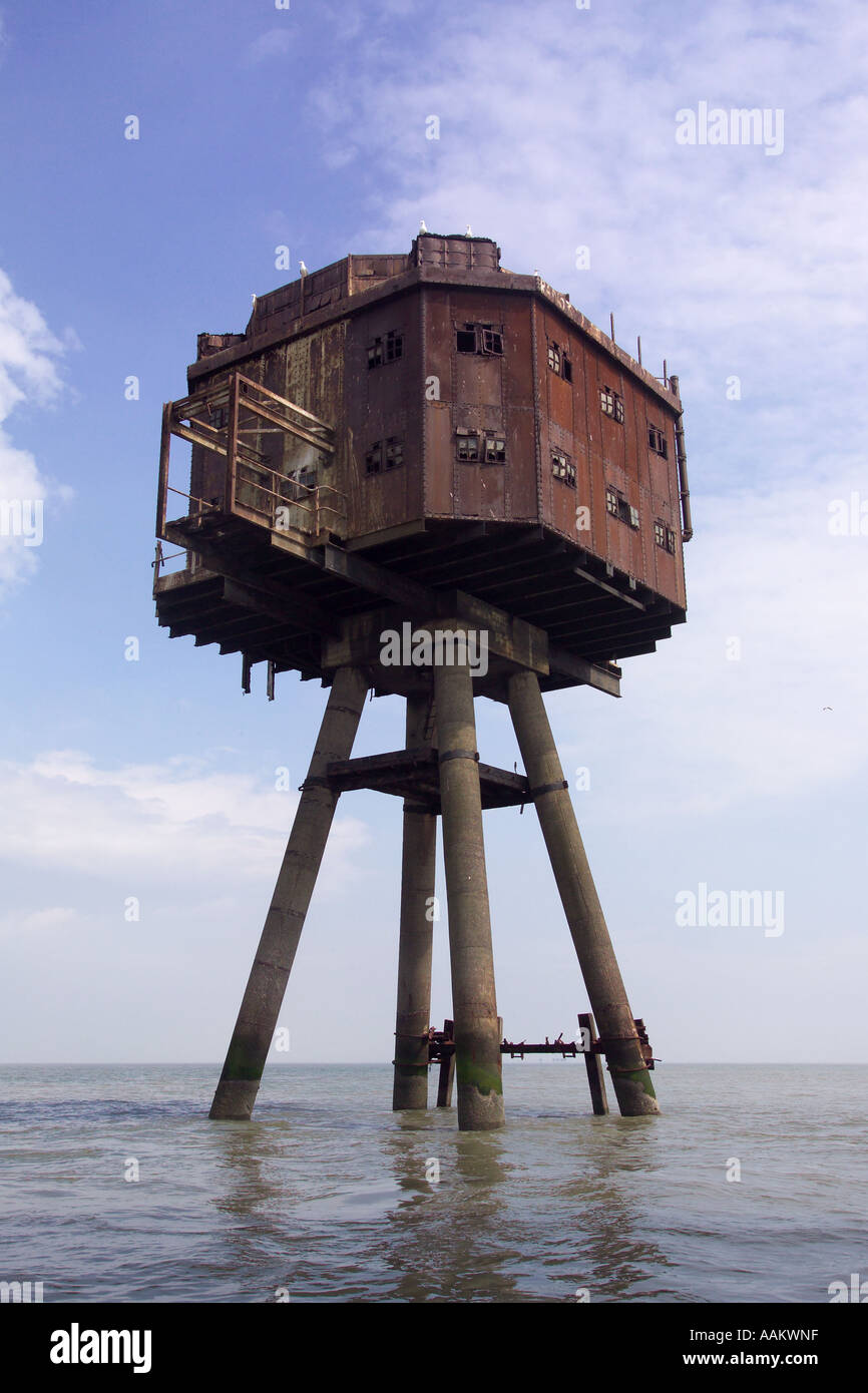 Redsands Maunsell Forts off the coast of whitstable - Stock Image