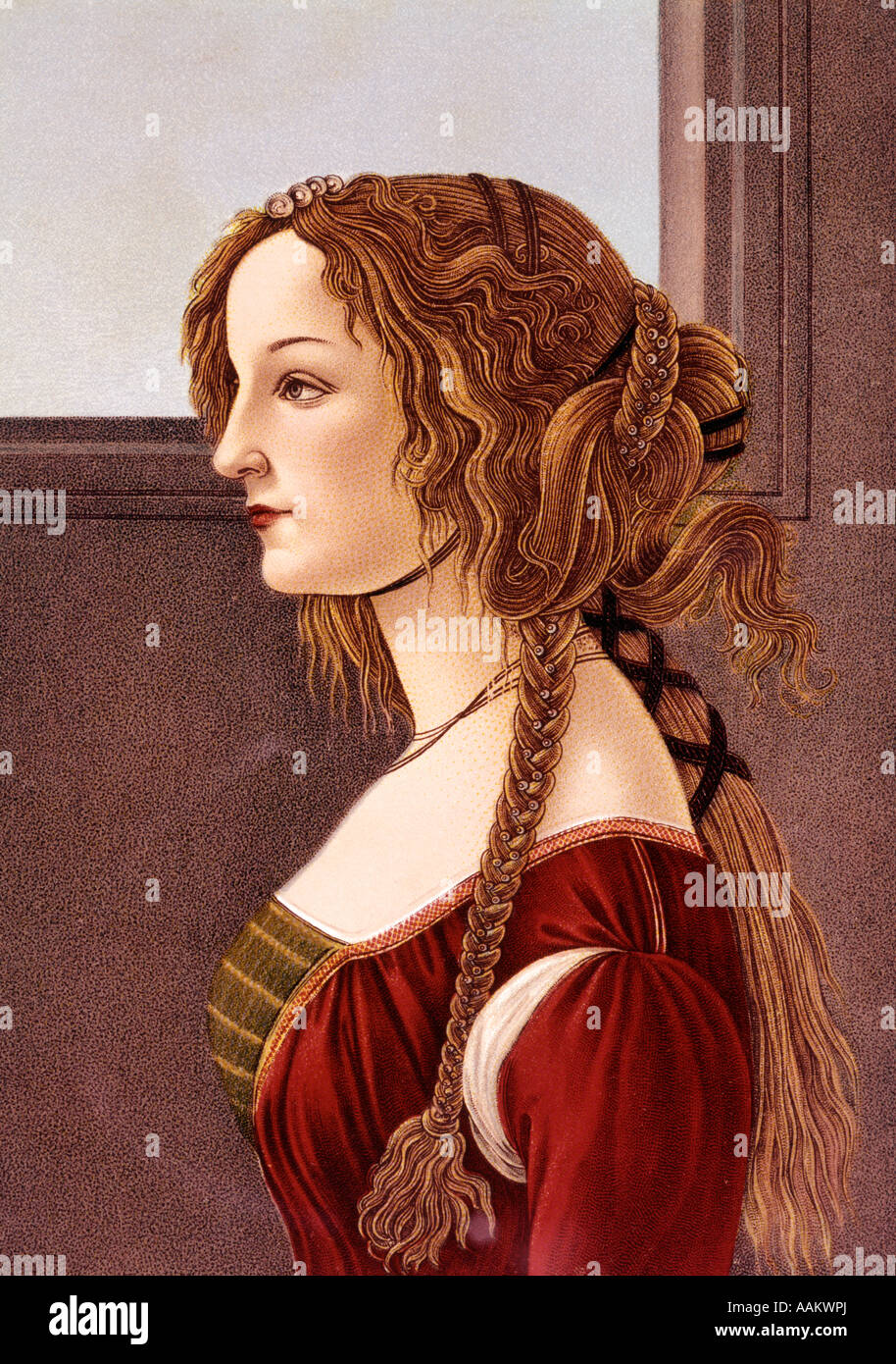 PORTRAIT OF YOUNG WOMAN BY BOTTICELLI PROFILE 15TH CENTURY RENAISSANCE WOMAN RED DRESS ELABORATE LONG HAIR TRESSES - Stock Image
