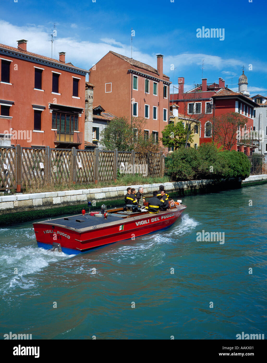 firebrigade boat in Rio Nueovo Venice, UNESCO World Heritage Site,  Italy, Europe. Photo by Willy Matheisl - Stock Image