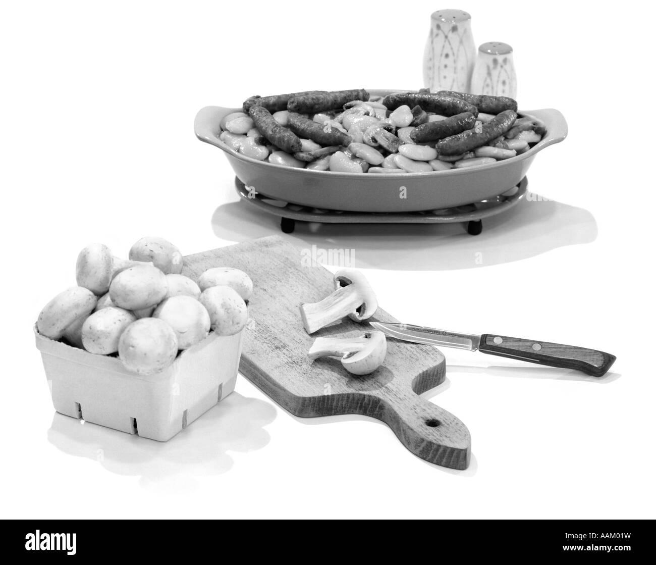 MUSHROOMS SAUSAGE - Stock Image