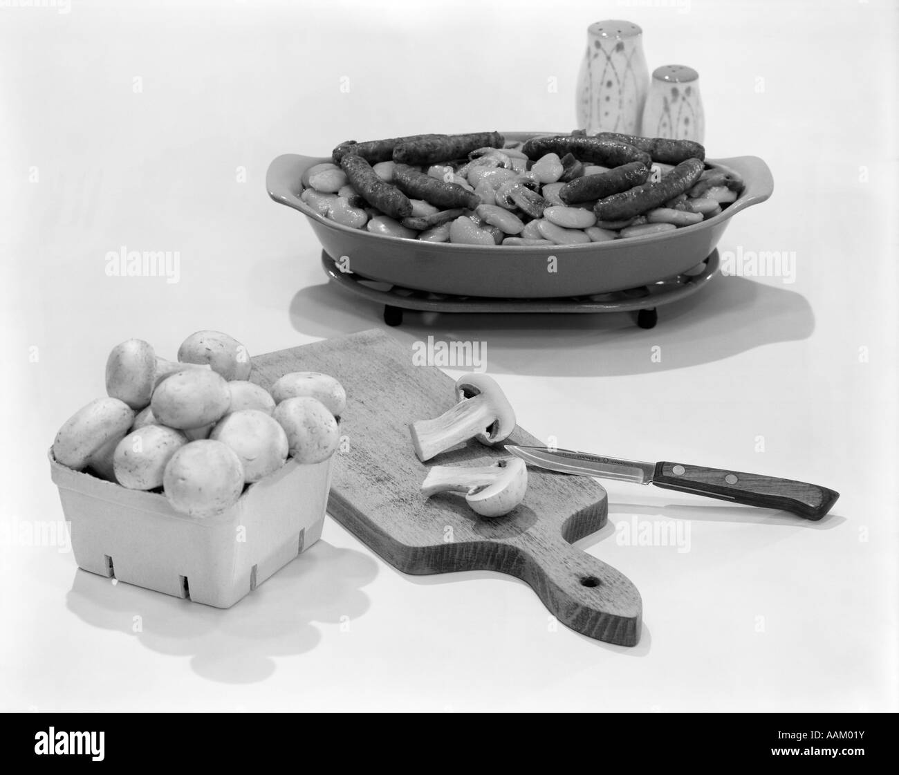 MUSHROOMS SAUSAGES - Stock Image