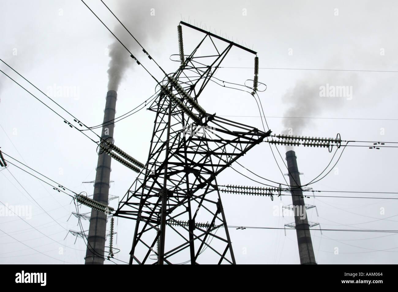 Smoke Stacks High Tension Poles Stock Photo 2343011 Alamy