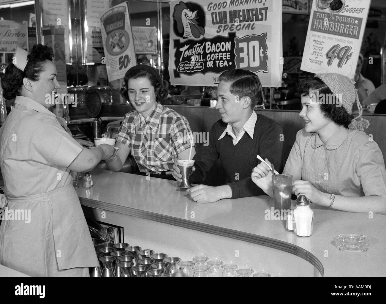 1950s Diner Black White High Resolution Stock Photography And Images Alamy