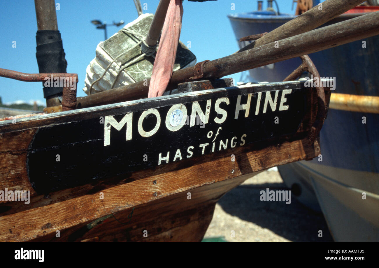 Fishing boat Moonshine Hastings beach East Sussex England UK Britain - Stock Image