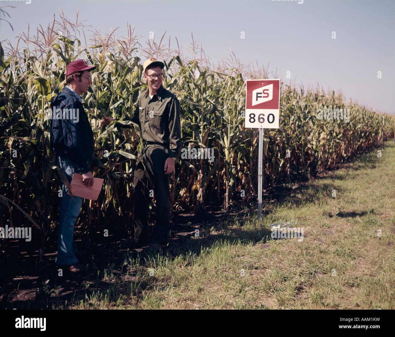 1970s FARMERS CHECKING DEMONSTRATION PLOTS OF HYBRID CORN - Stock Image