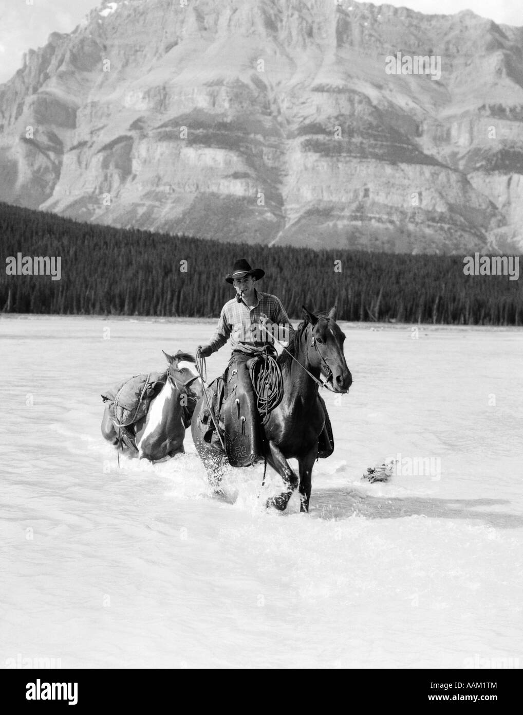 1930s COWBOY WITH BATWING CHAPS ON A BAY HORSE CROSSING A RIVER LEADING A PAINT PACK HORSE WITH MOUNTAINS IN BACKGROUND - Stock Image