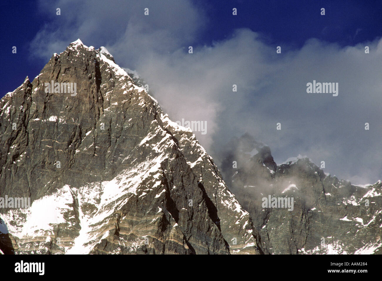 Lhotse The Worlds Fourth Largest Peak at 8501 Meters 28 005 feet Everest Region of the Khumbu District - Stock Image