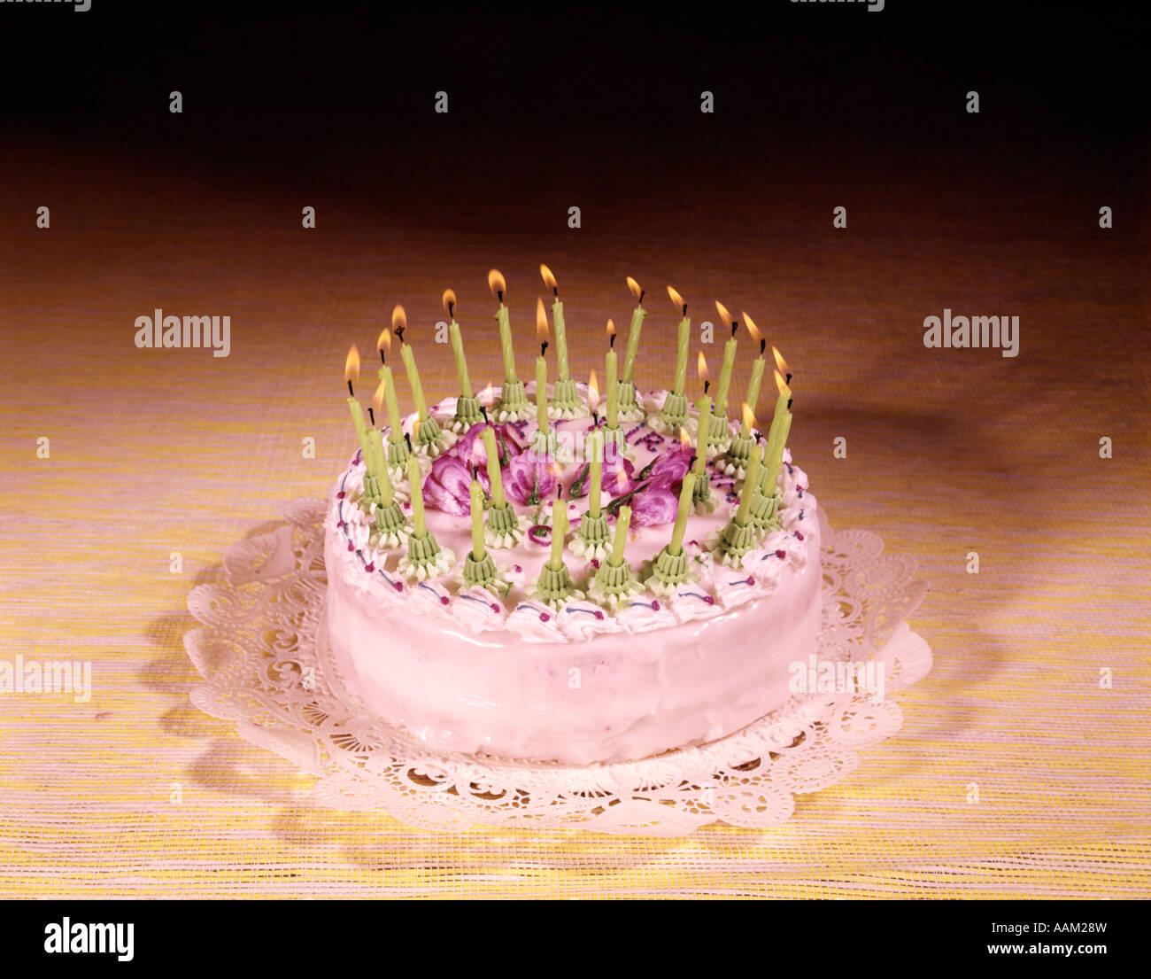 1950s 1960s 1970s Birthday Cake With Many Candles Studio Indoor