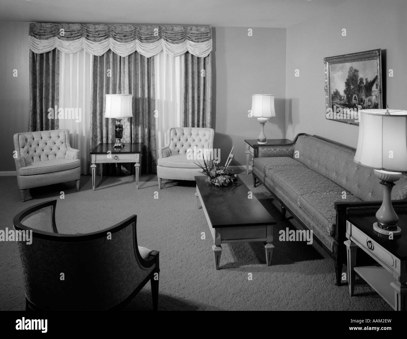 1960s FORMAL LIVING ROOM INTERIOR WITH FULL-LENGTH DRAPES ...