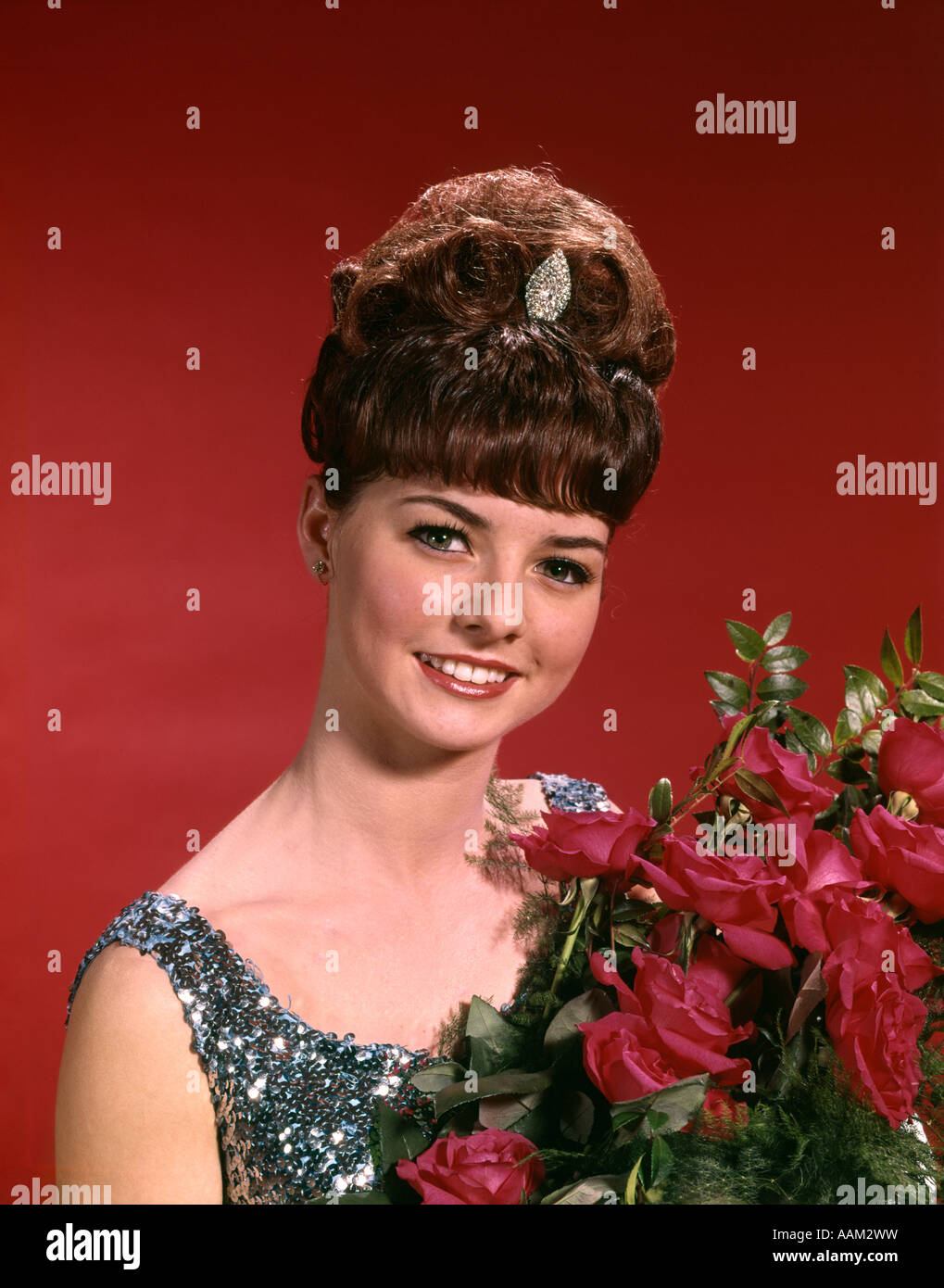 1960s Young Woman Prom Beauty Queen Bee Hive Hair Do Tiara Bouquet