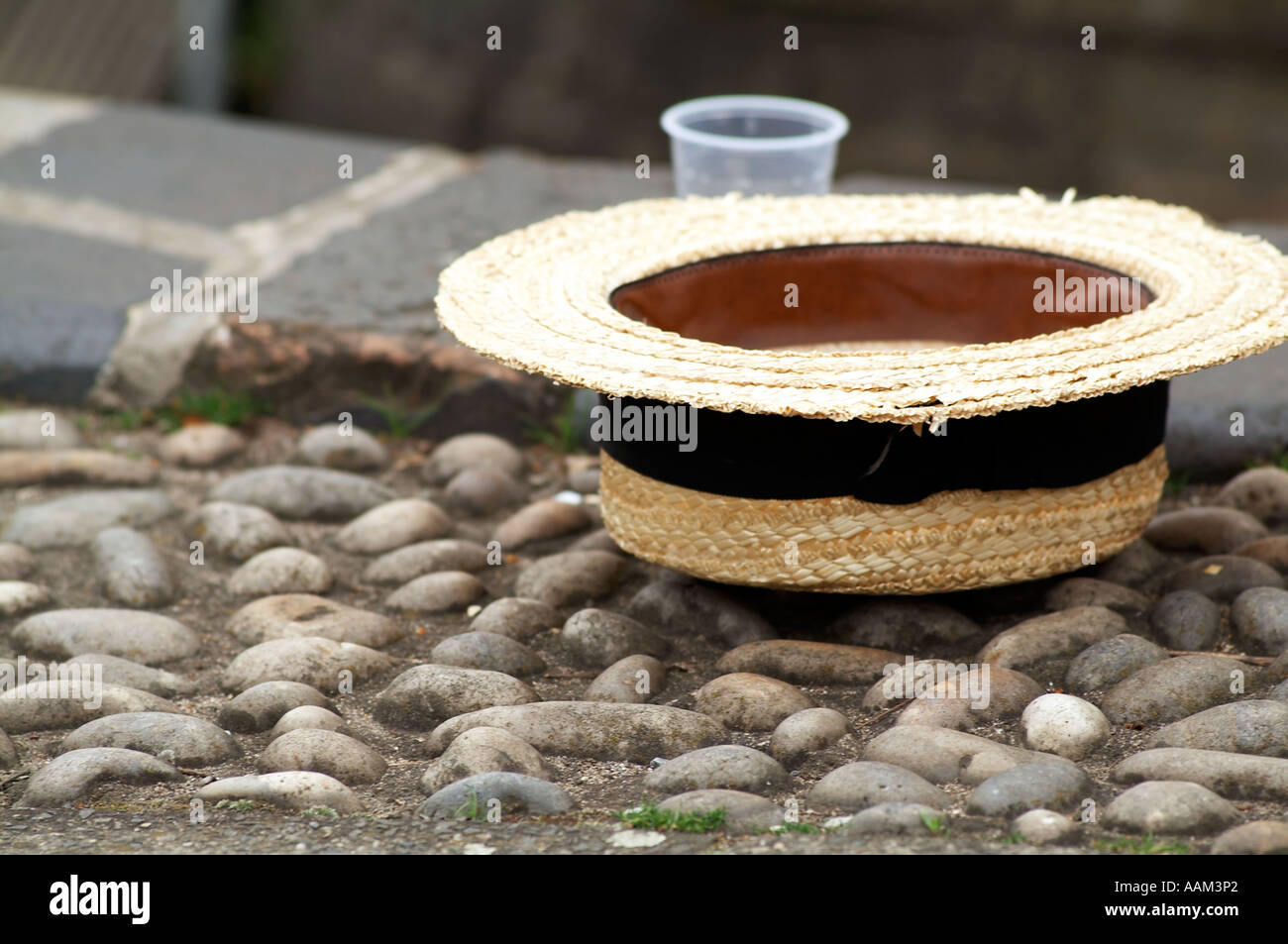 straw, boater, hat, posh, salad, days, posh, smart, henley, regatta, - Stock Image