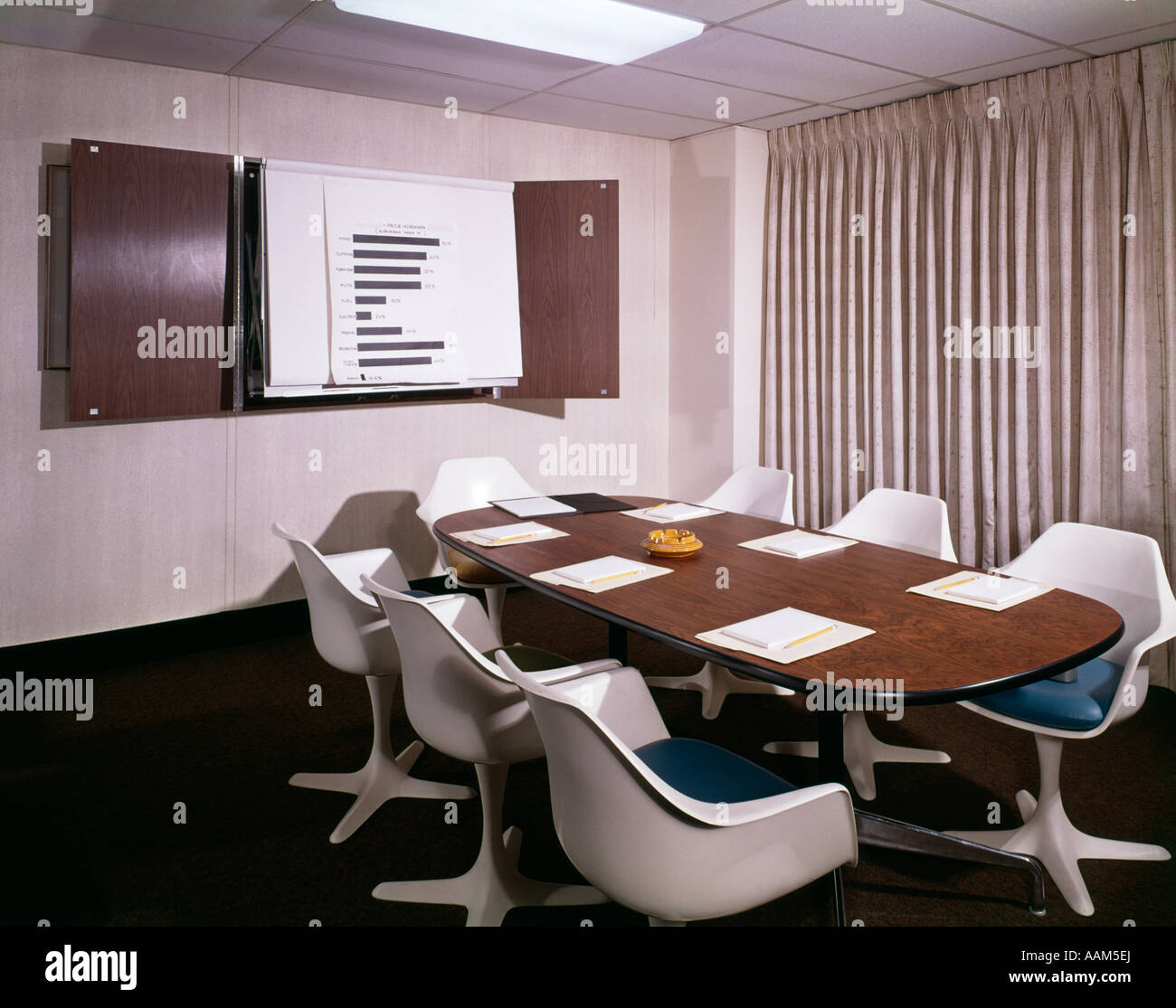 S OFFICE CONFERENCE ROOM WITH TABLE CHAIRS WRITING PADS AND WALL - Conference table pads