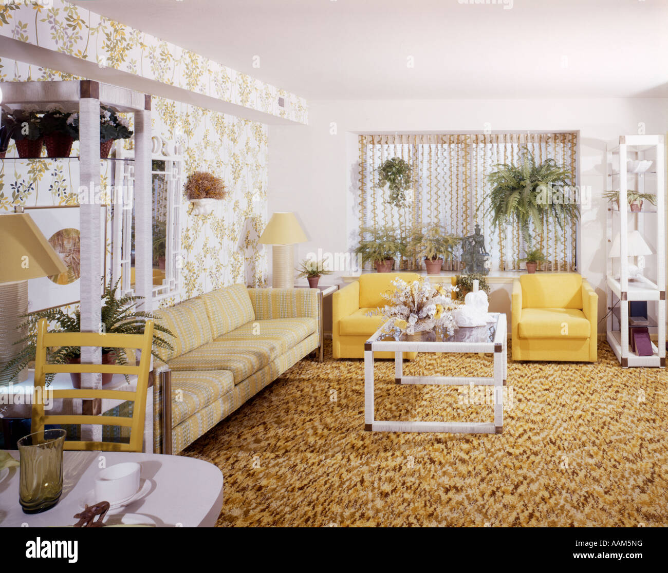 1970s living room 1970 1970s living room yellow chairs white 10365